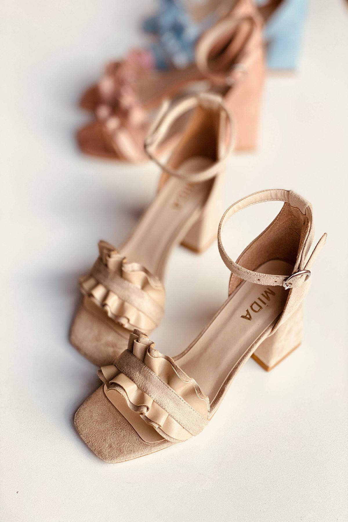 Y700 Ten Süet Topuklu Ayakkabı