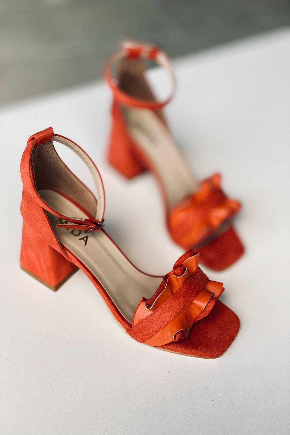 Y700 Turuncu Süet Topuklu Ayakkabı