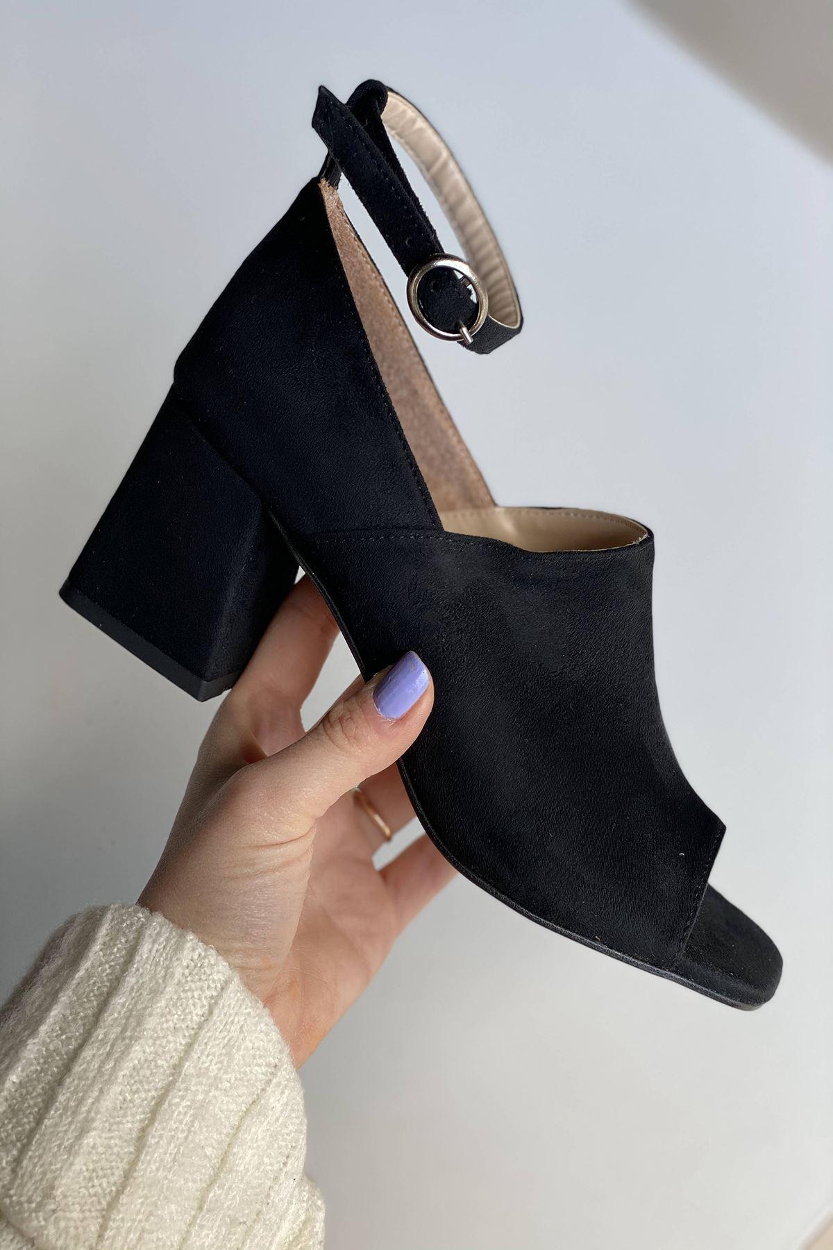 Y706 Siyah Süet Topuklu Ayakkabı