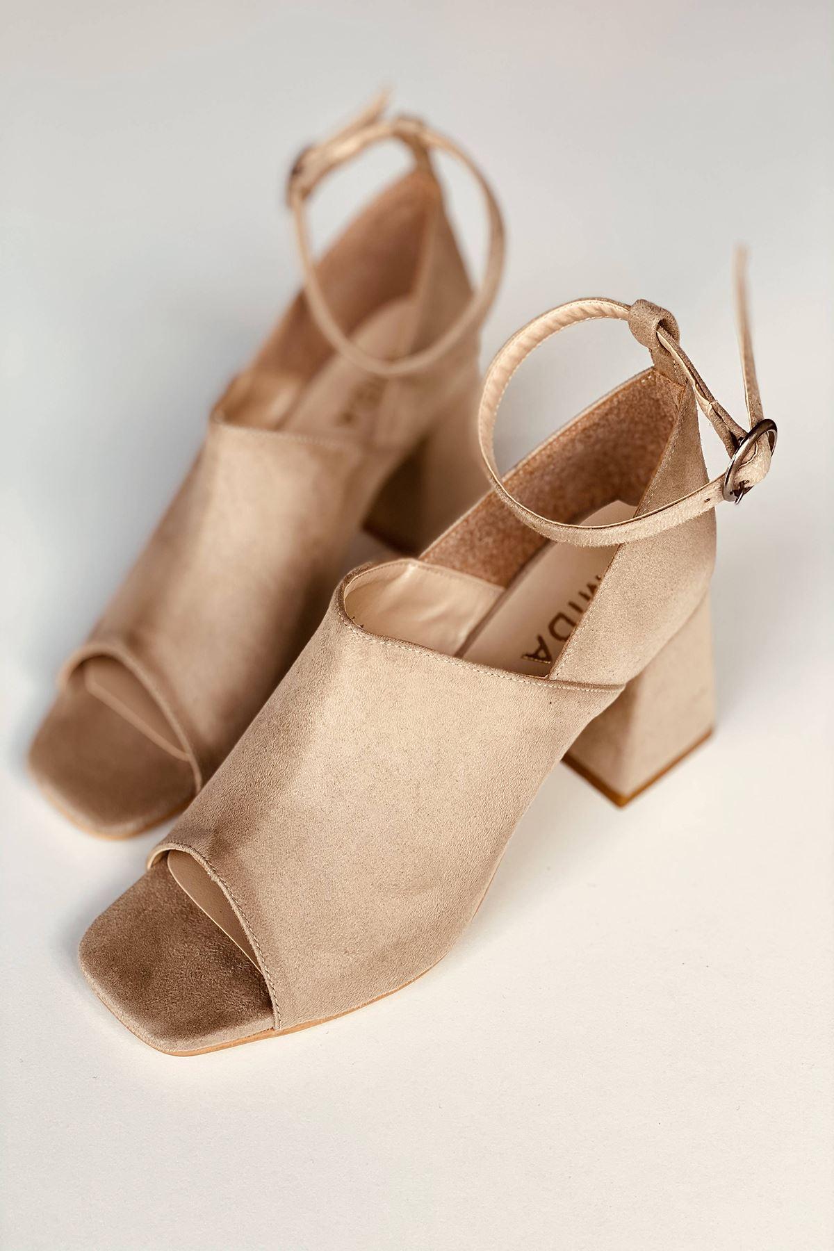Y706 Ten Süet Topuklu Ayakkabı