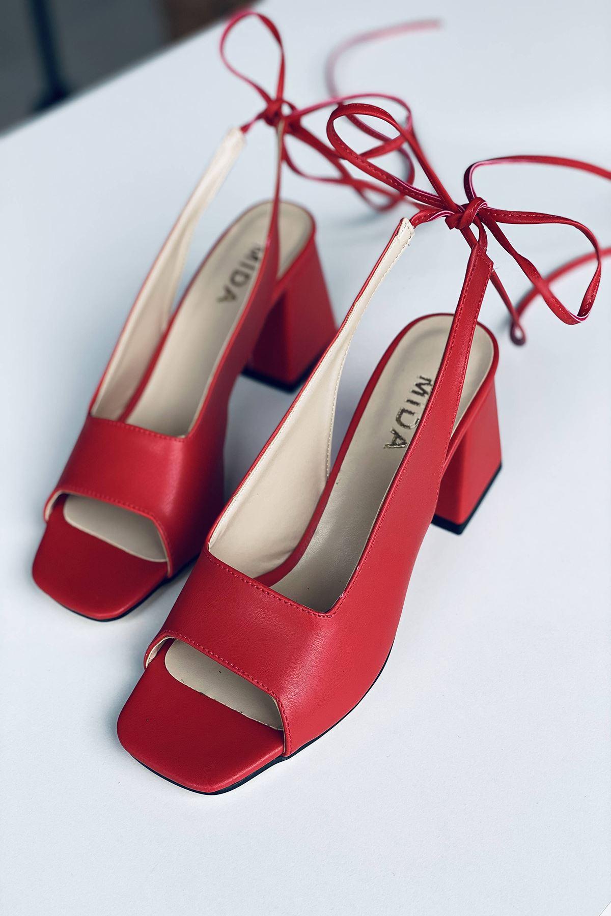 Y710 Kırmızı Deri Topuklu Ayakkabı