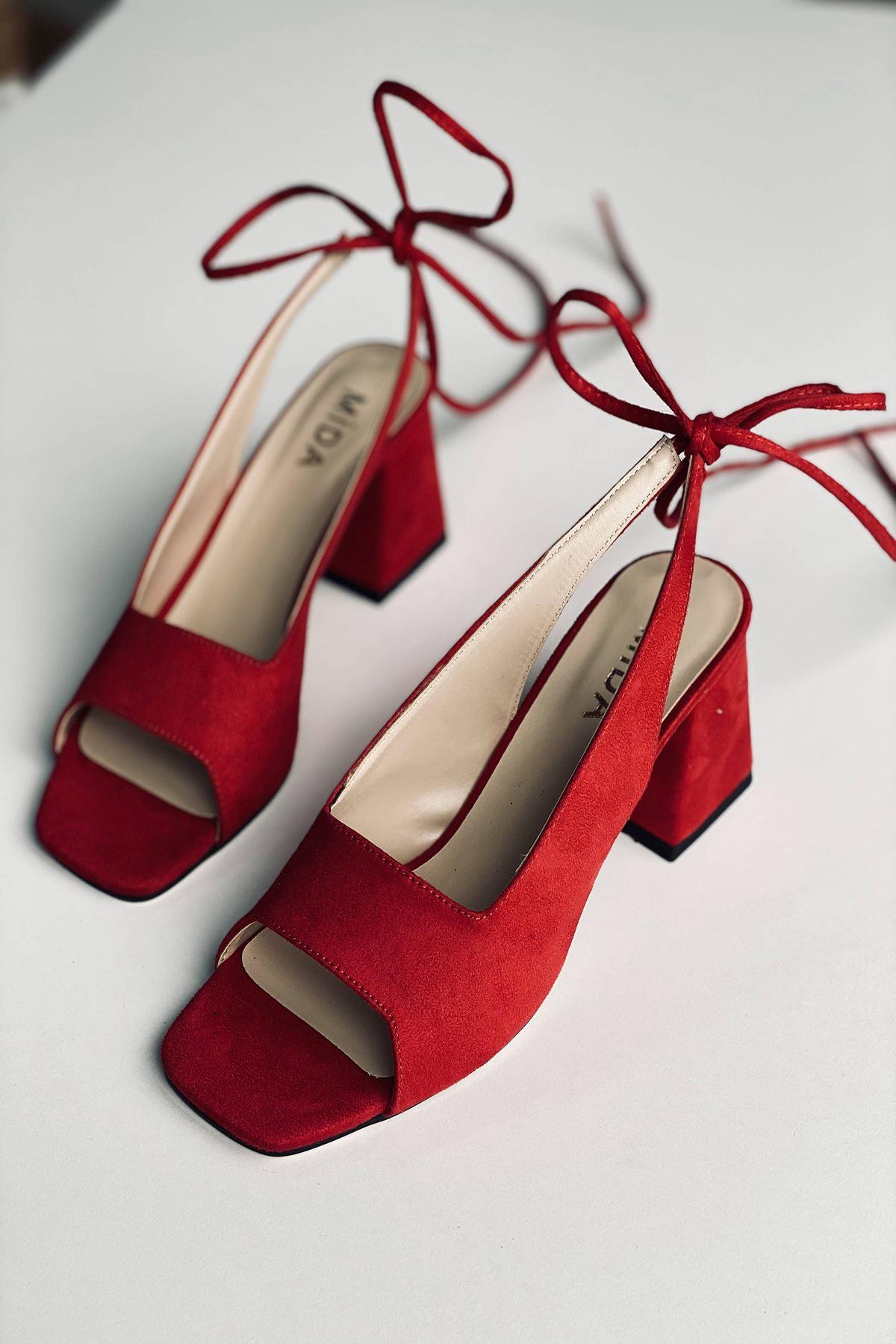 Y710 Kırmızı Süet Topuklu Ayakkabı