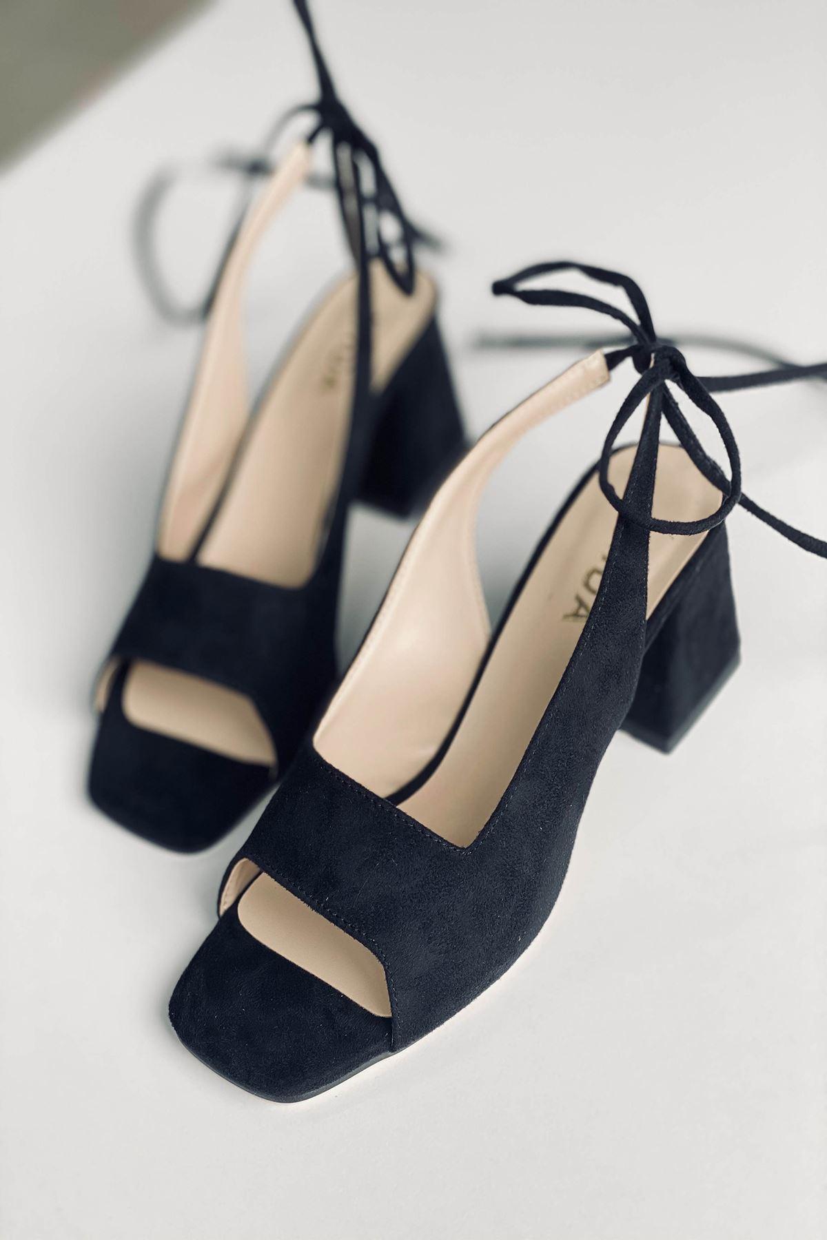 Y710 Siyah Süet Topuklu Ayakkabı