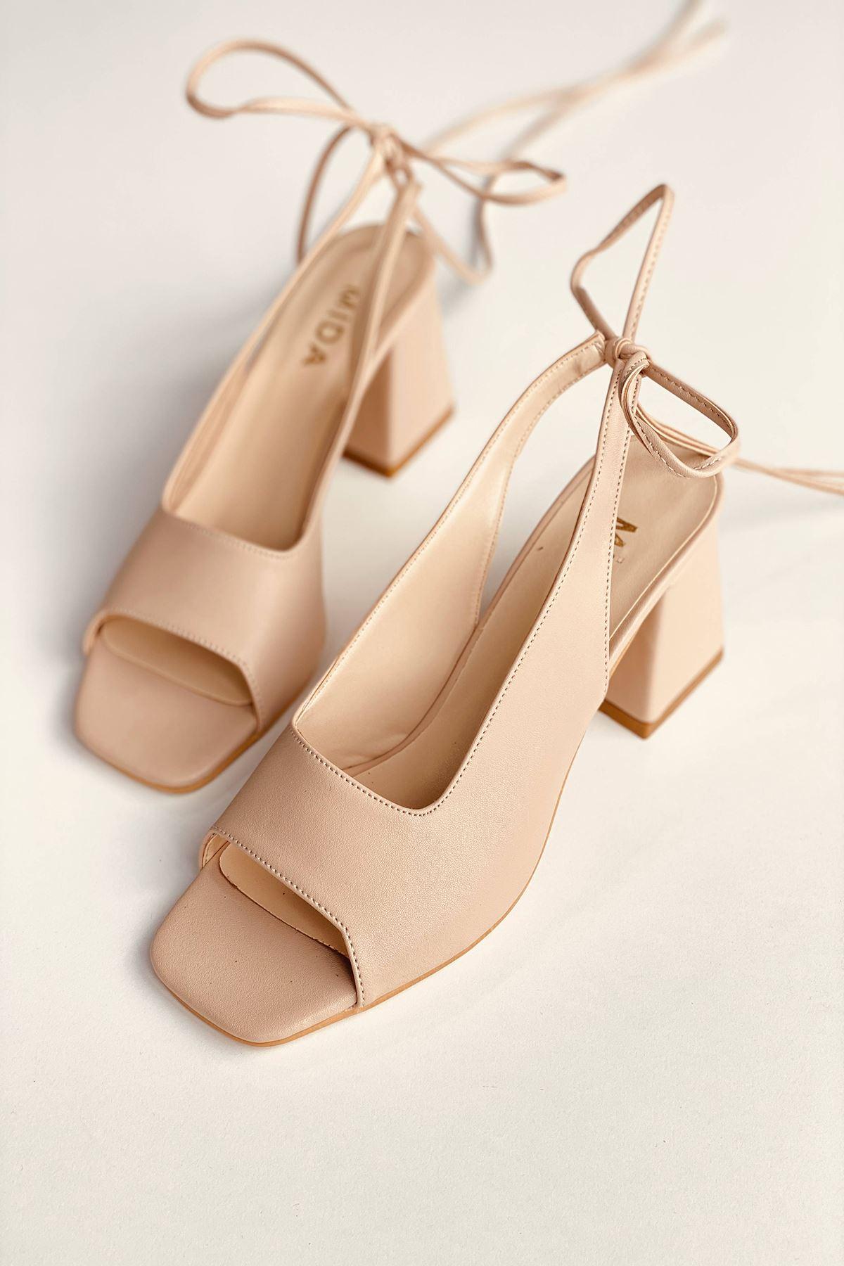Y710 Ten Deri Topuklu Ayakkabı