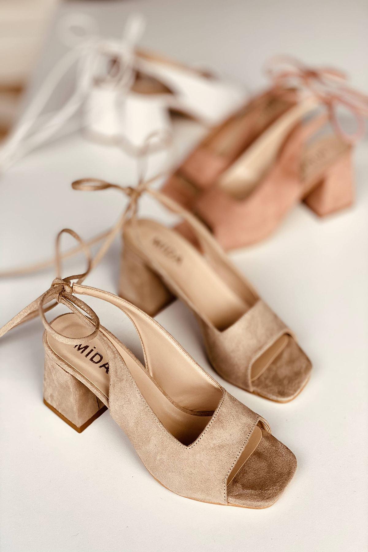 Y710 Ten Süet Topuklu Ayakkabı