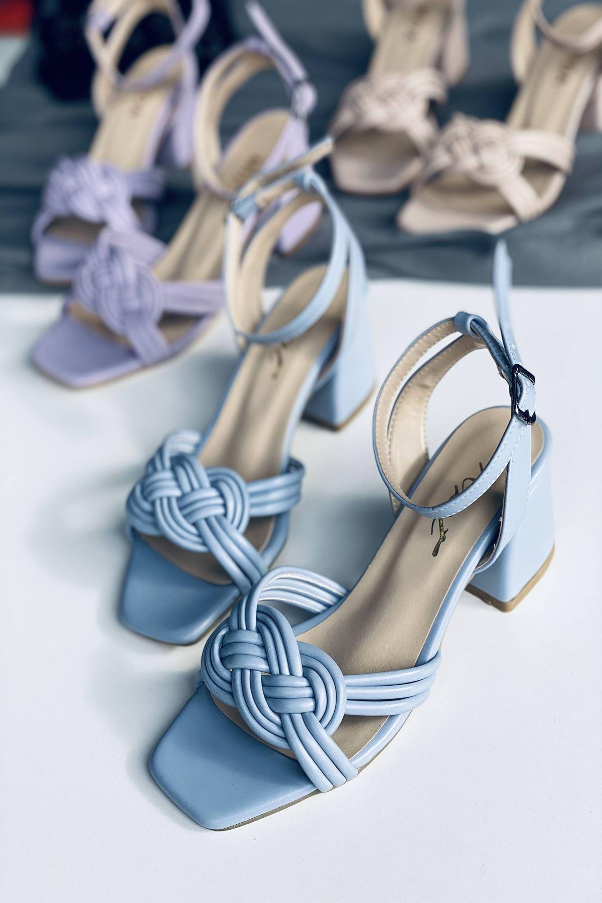 Y716 Bebe Mavi Deri Topuklu Ayakkabı