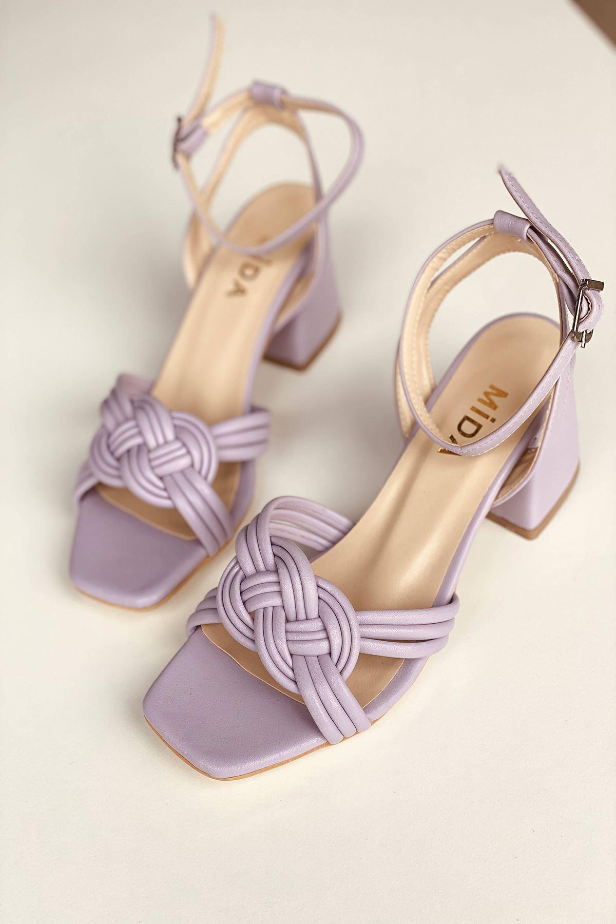 Y716 Lila Deri Topuklu Ayakkabı