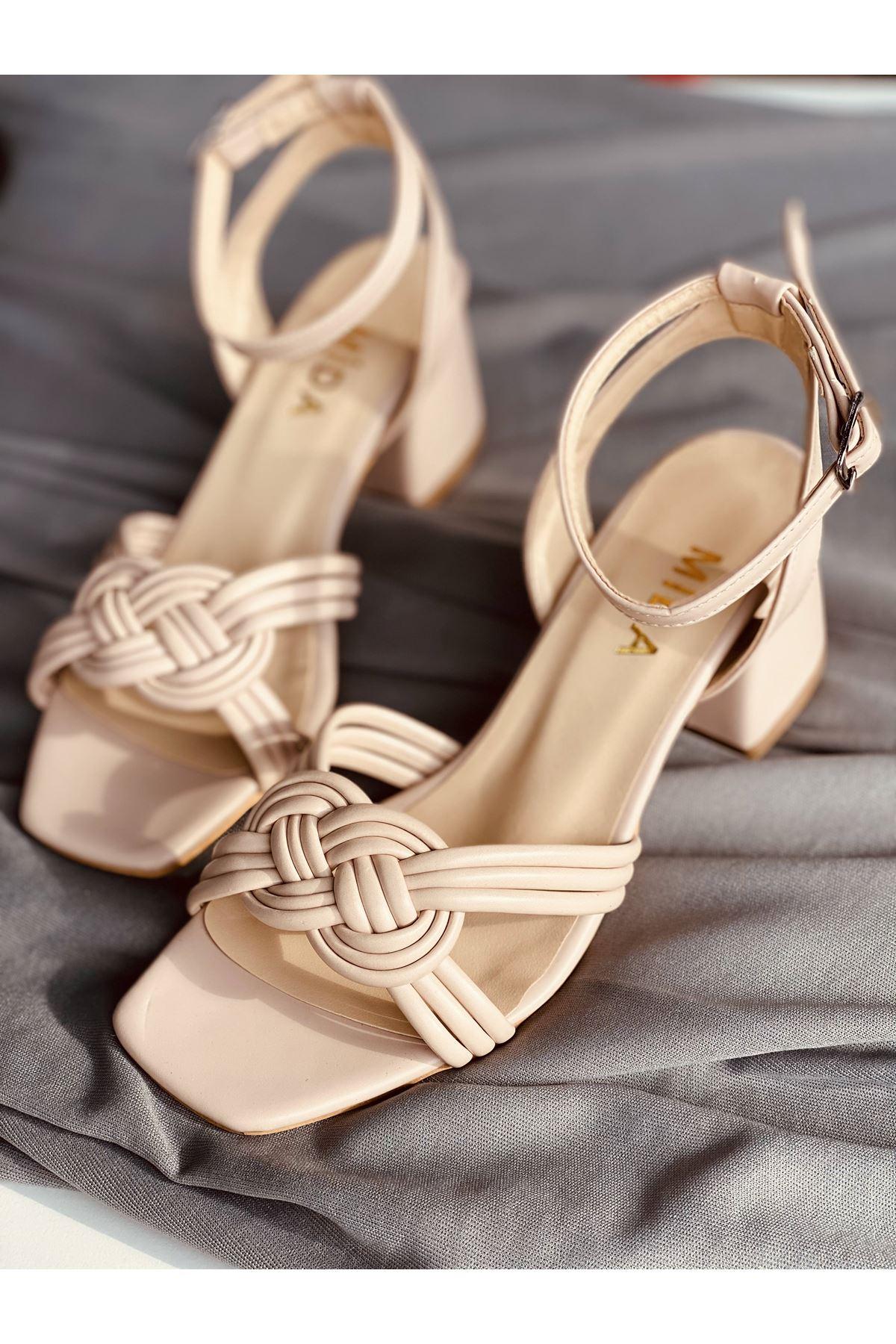 Y716 Ten Deri Topuklu Ayakkabı