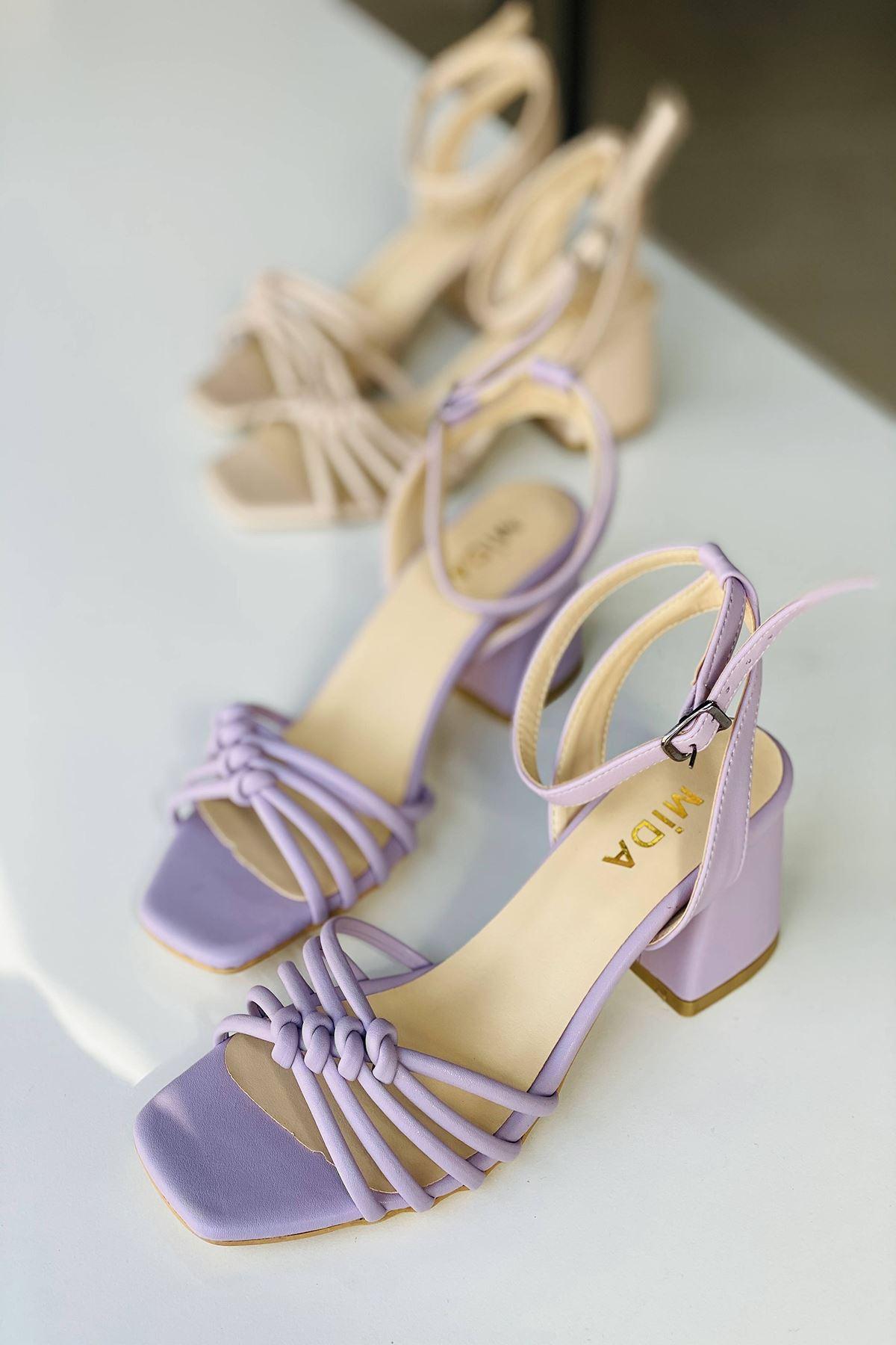 Y802 Lila Deri Topuklu Ayakkabı