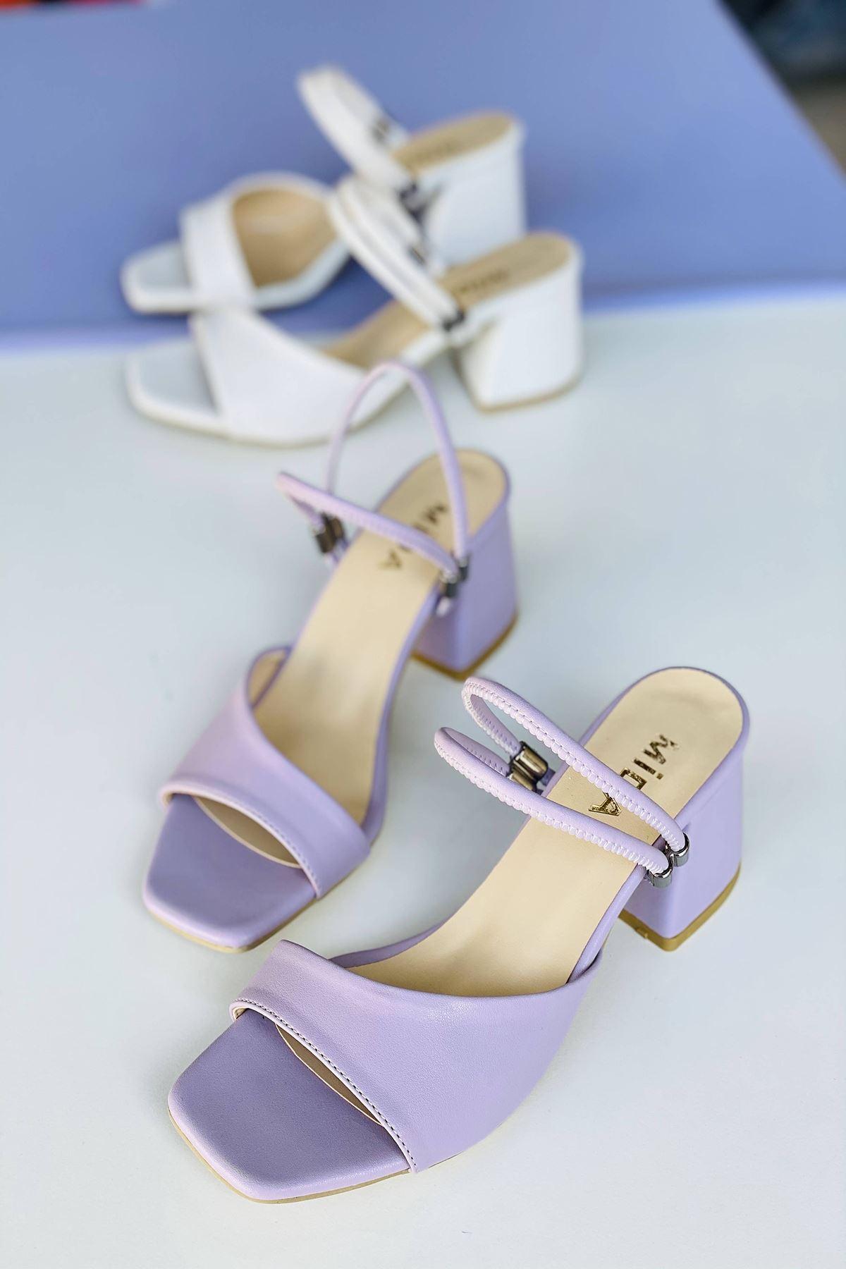 Y911 Lila Deri Topuklu Ayakkabı