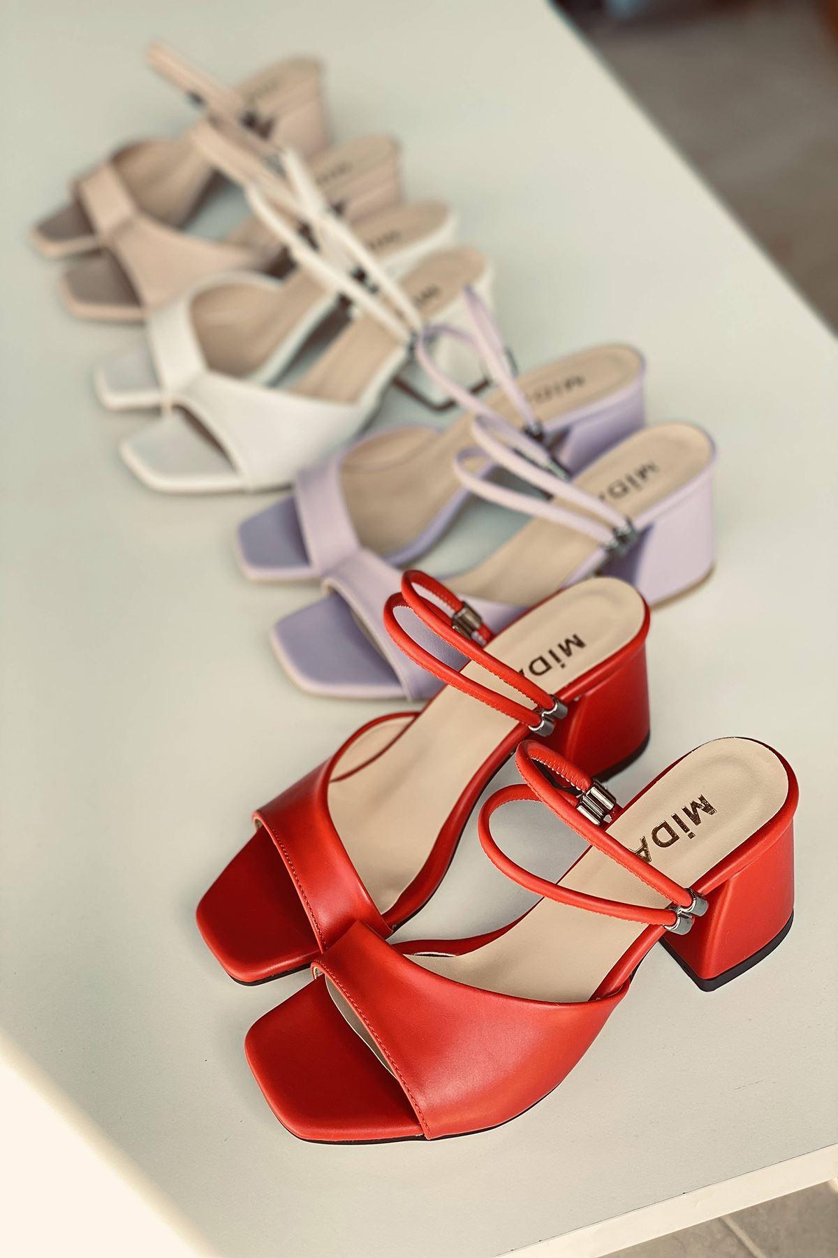 Y911 Kırmızı Deri Topuklu Ayakkabı