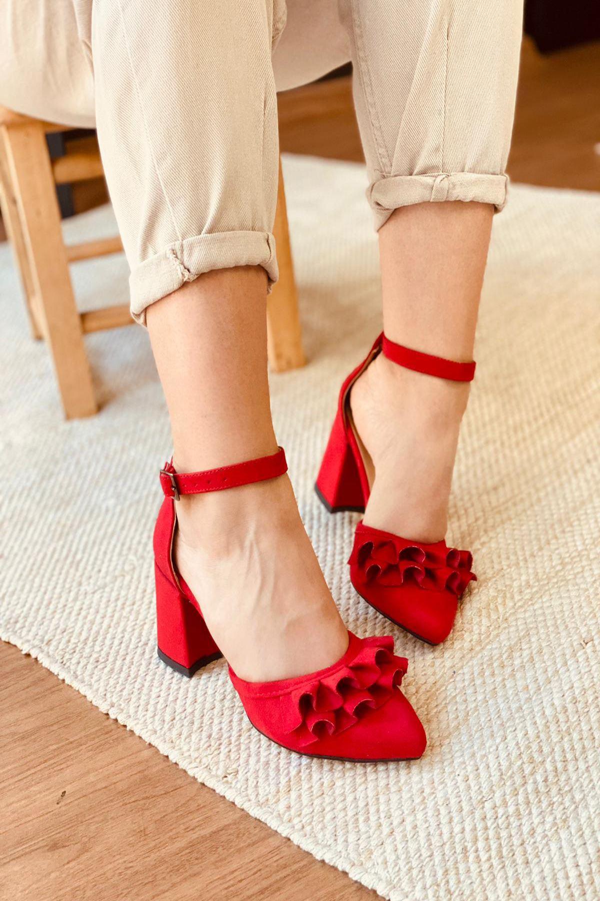 Y122 Kırmızı Süet Topuklu Ayakkabı