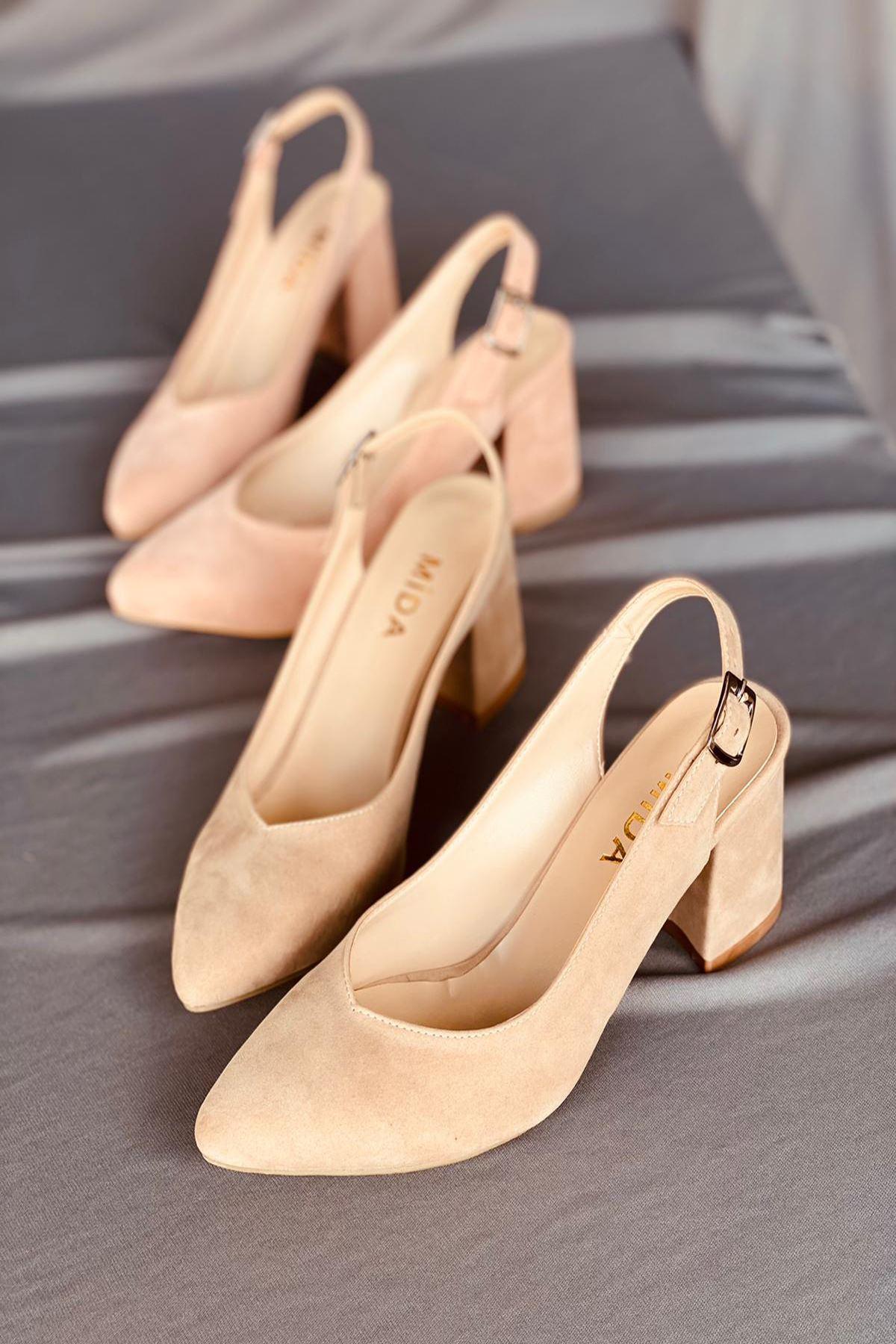 Y101 Ten Süet Topuklu Ayakkabı