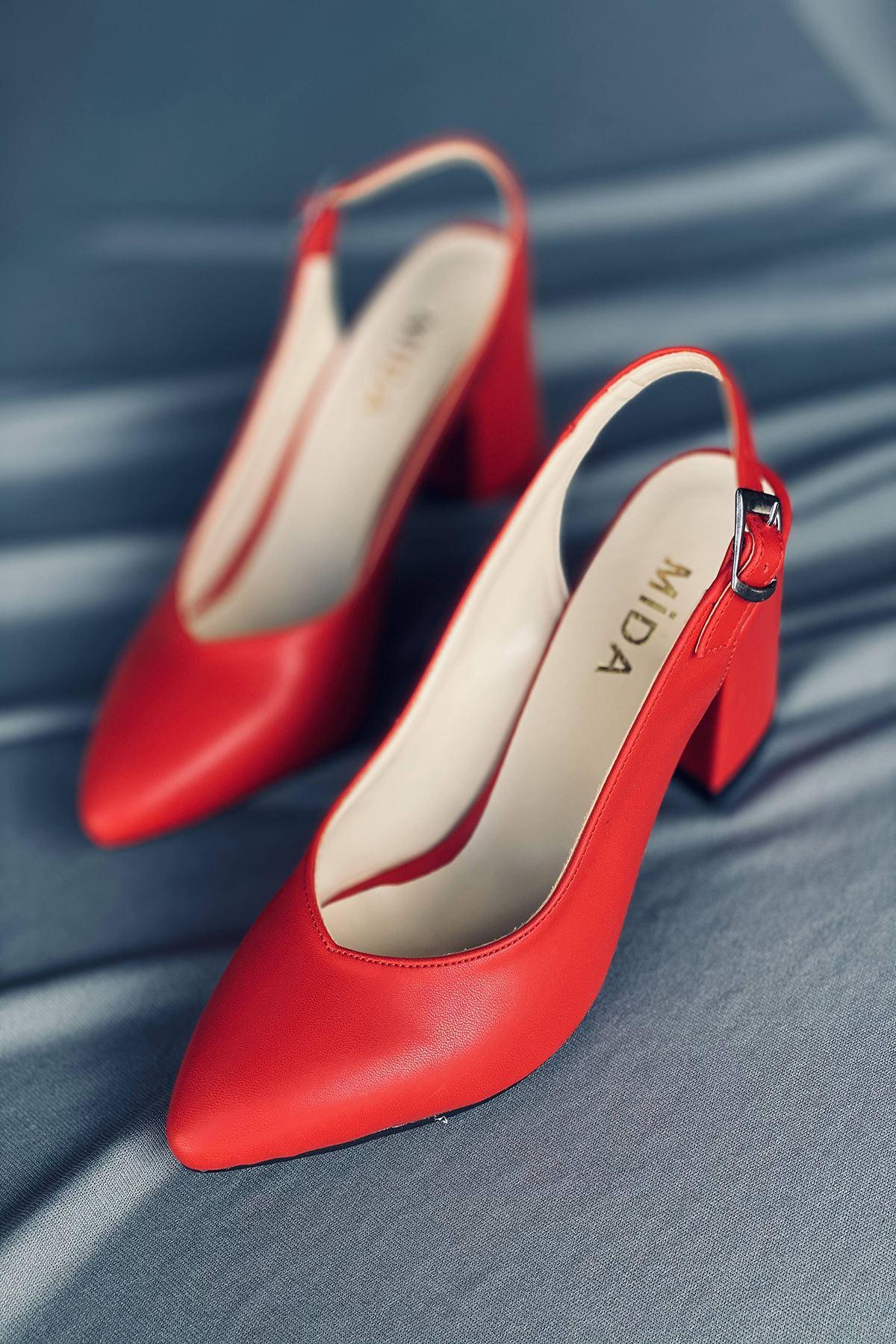 Y101 Kırmızı Deri Topuklu Ayakkabı