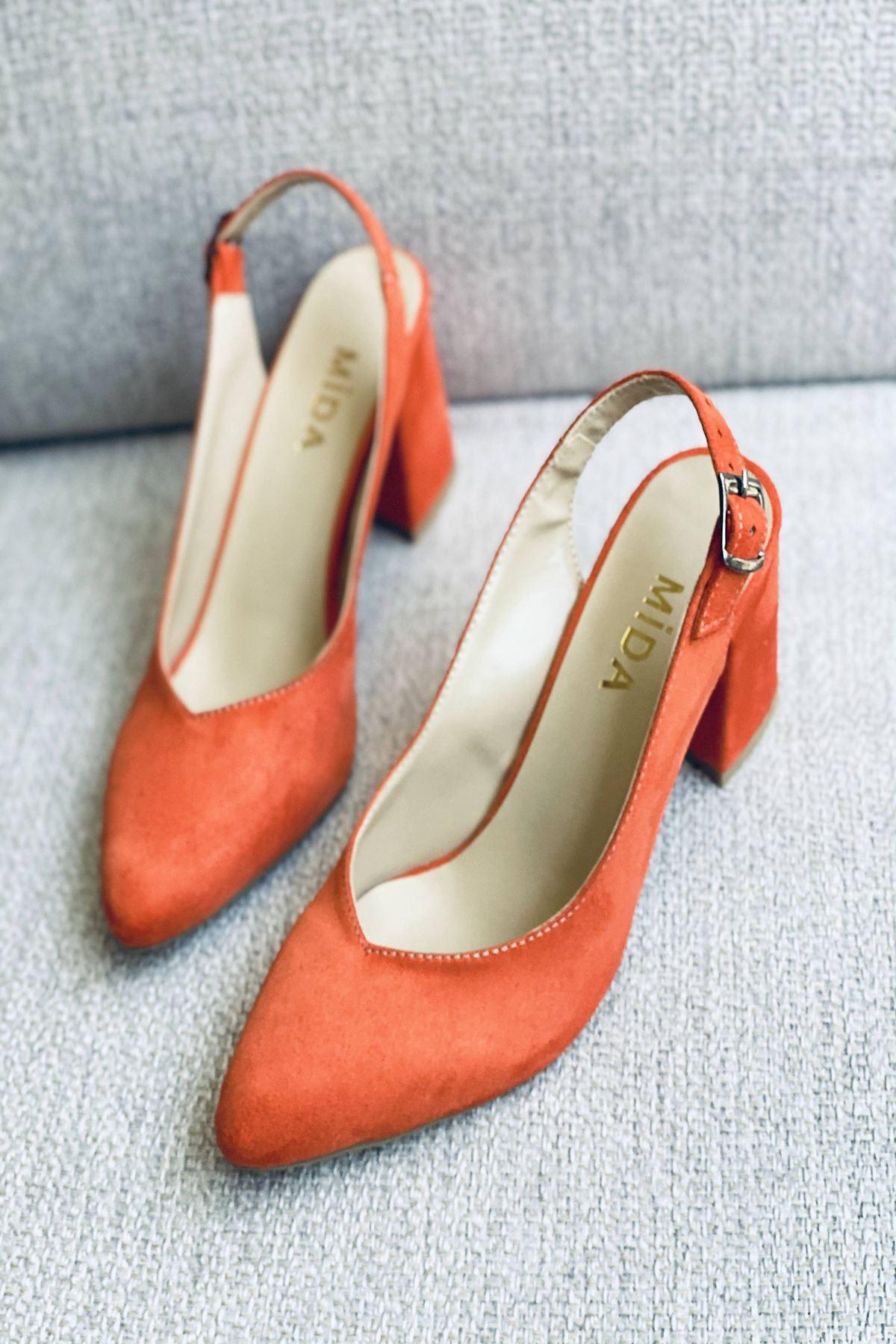 Y101 Turuncu Süet Topuklu Ayakkabı
