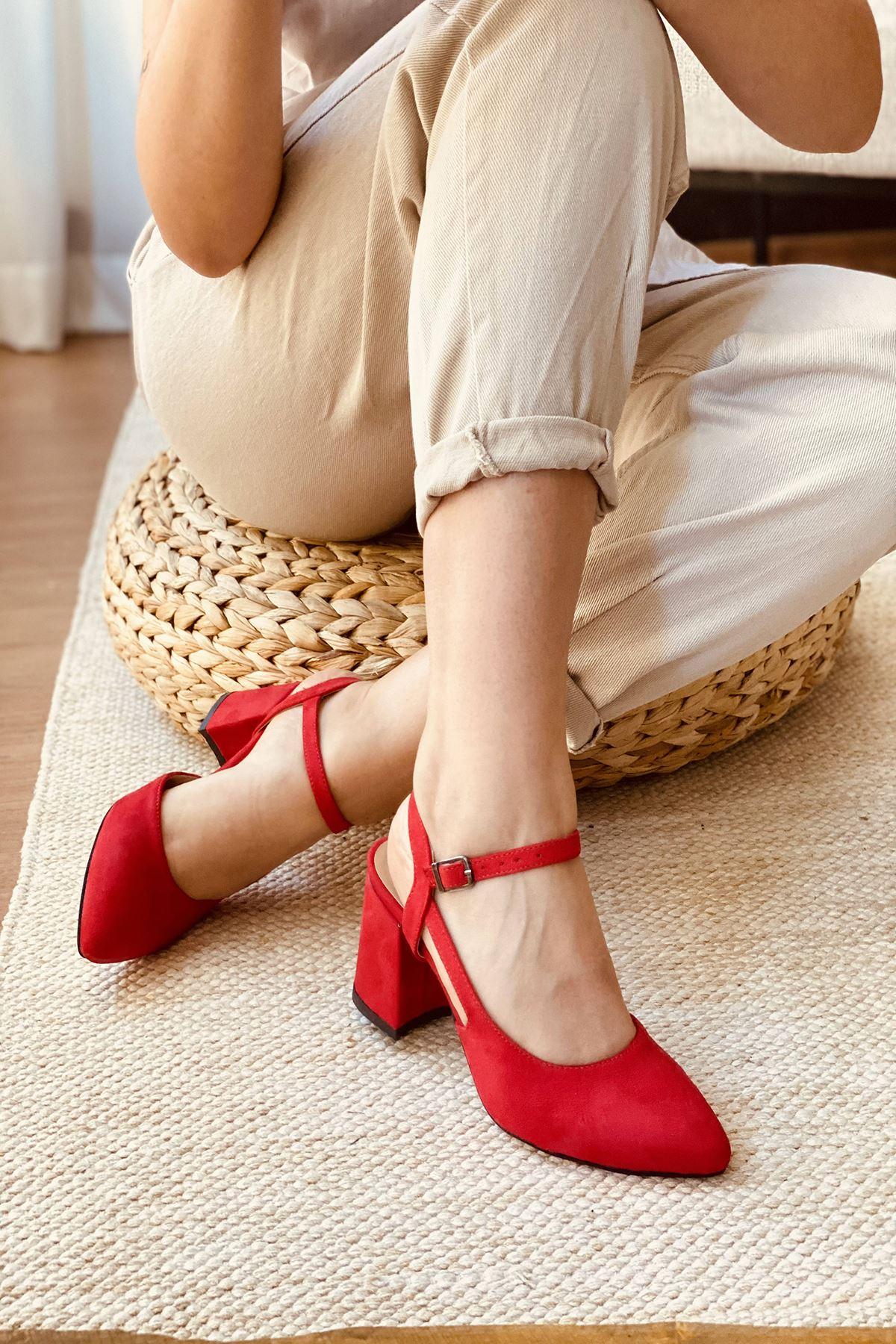 Y104 Kırmızı Süet Topuklu Ayakkabı