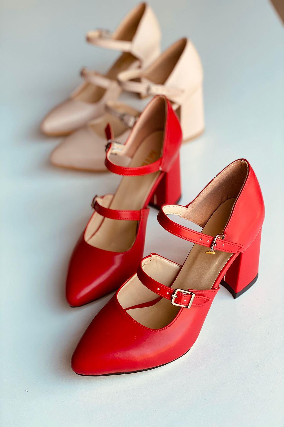 Y111 Kırmızı Deri Topuklu Ayakkabı