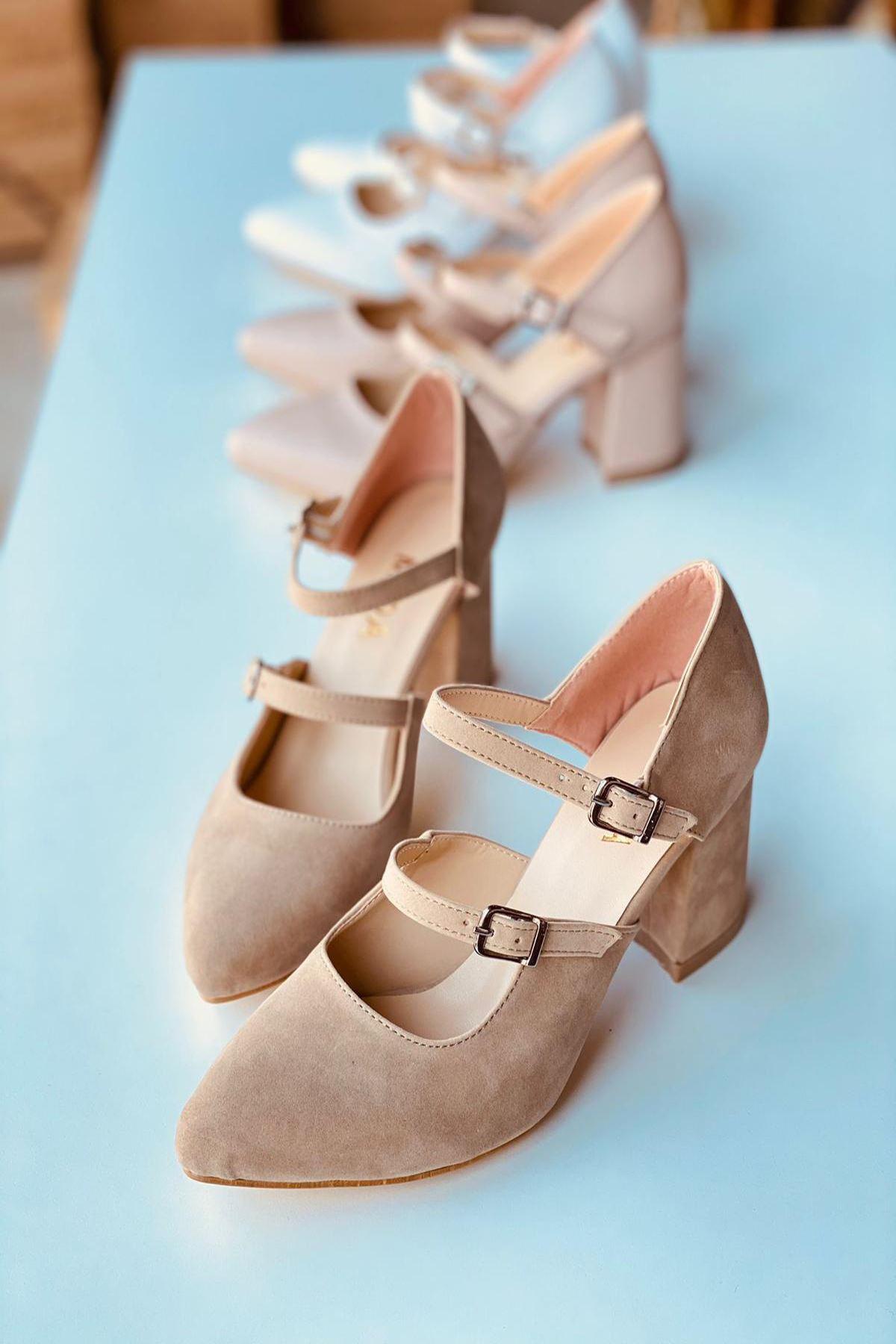 Y111 Ten Süet Topuklu Ayakkabı