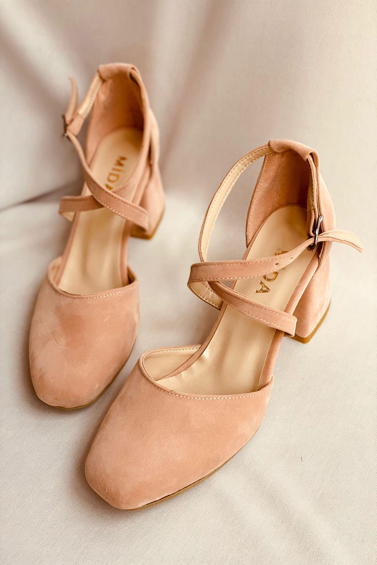 Y191 Pudra Süet Topuklu Ayakkabı