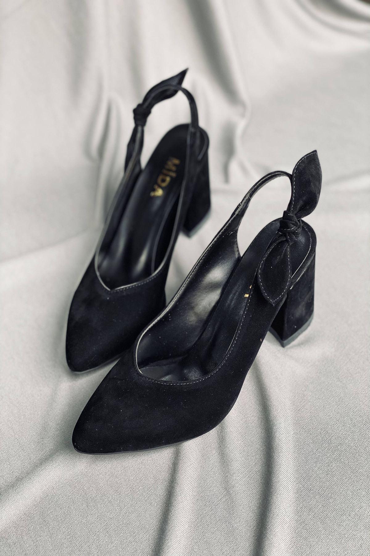Y109 Siyah Süet Topuklu Ayakkabı