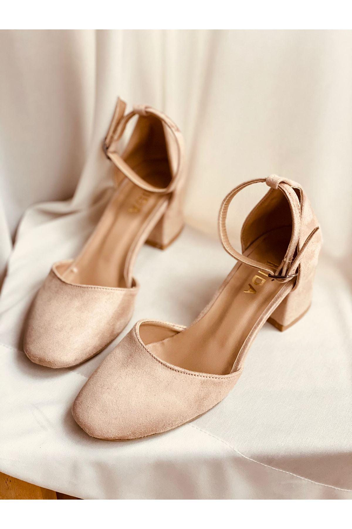 Y192 Ten Süet Topuklu Ayakkabı