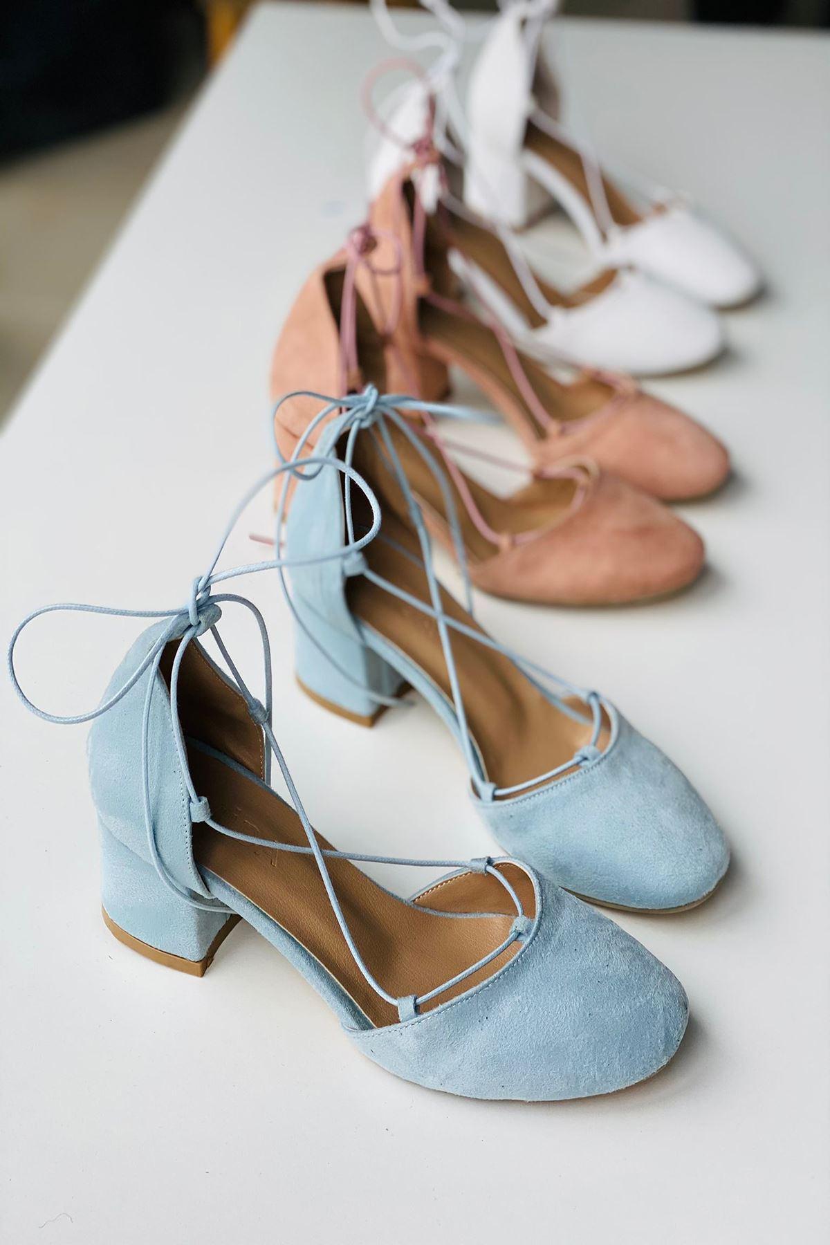 Y203 Bebe Mavi Süet Topuklu Ayakkabı