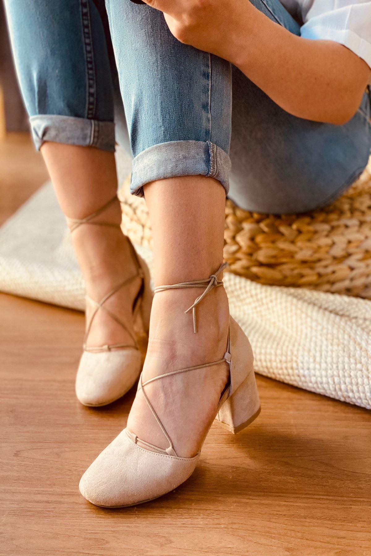 Y203 Ten Süet Topuklu Ayakkabı