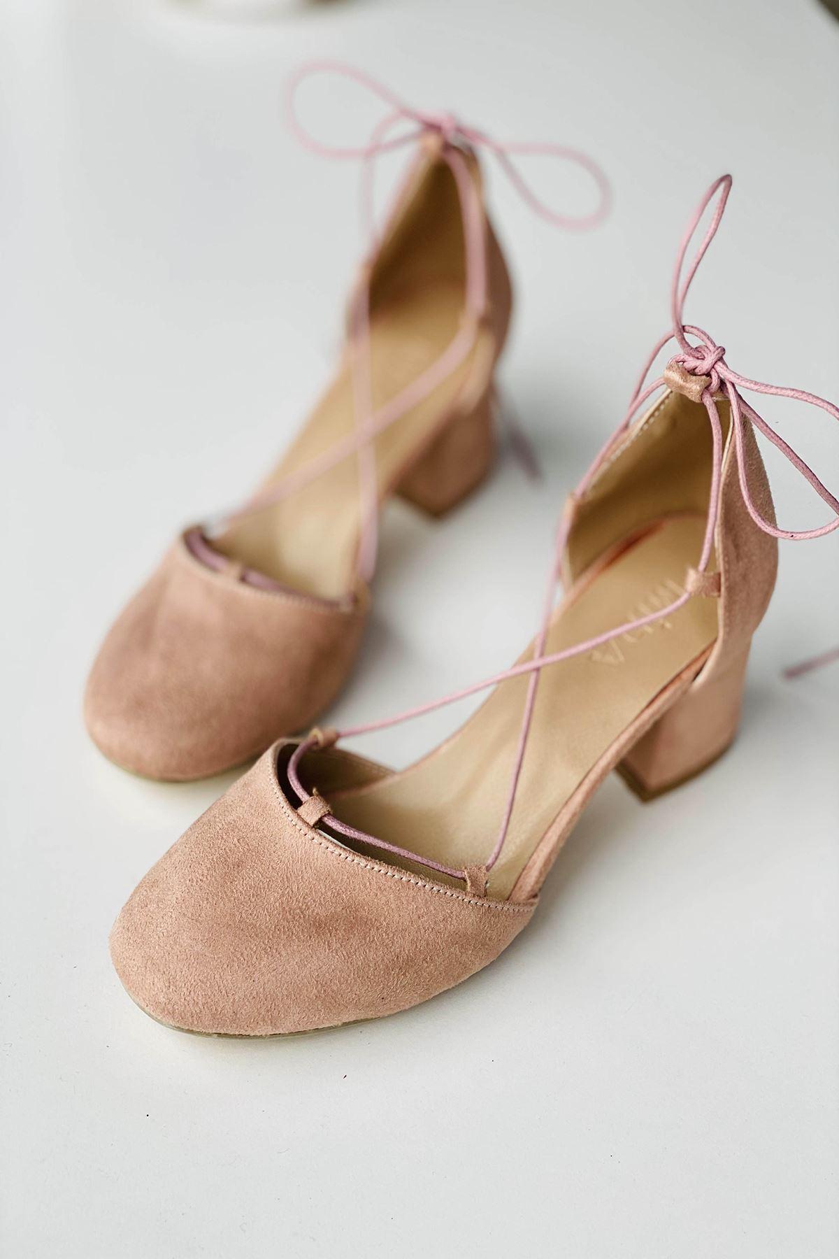 Y203 Pudra  Süet Topuklu Ayakkabı