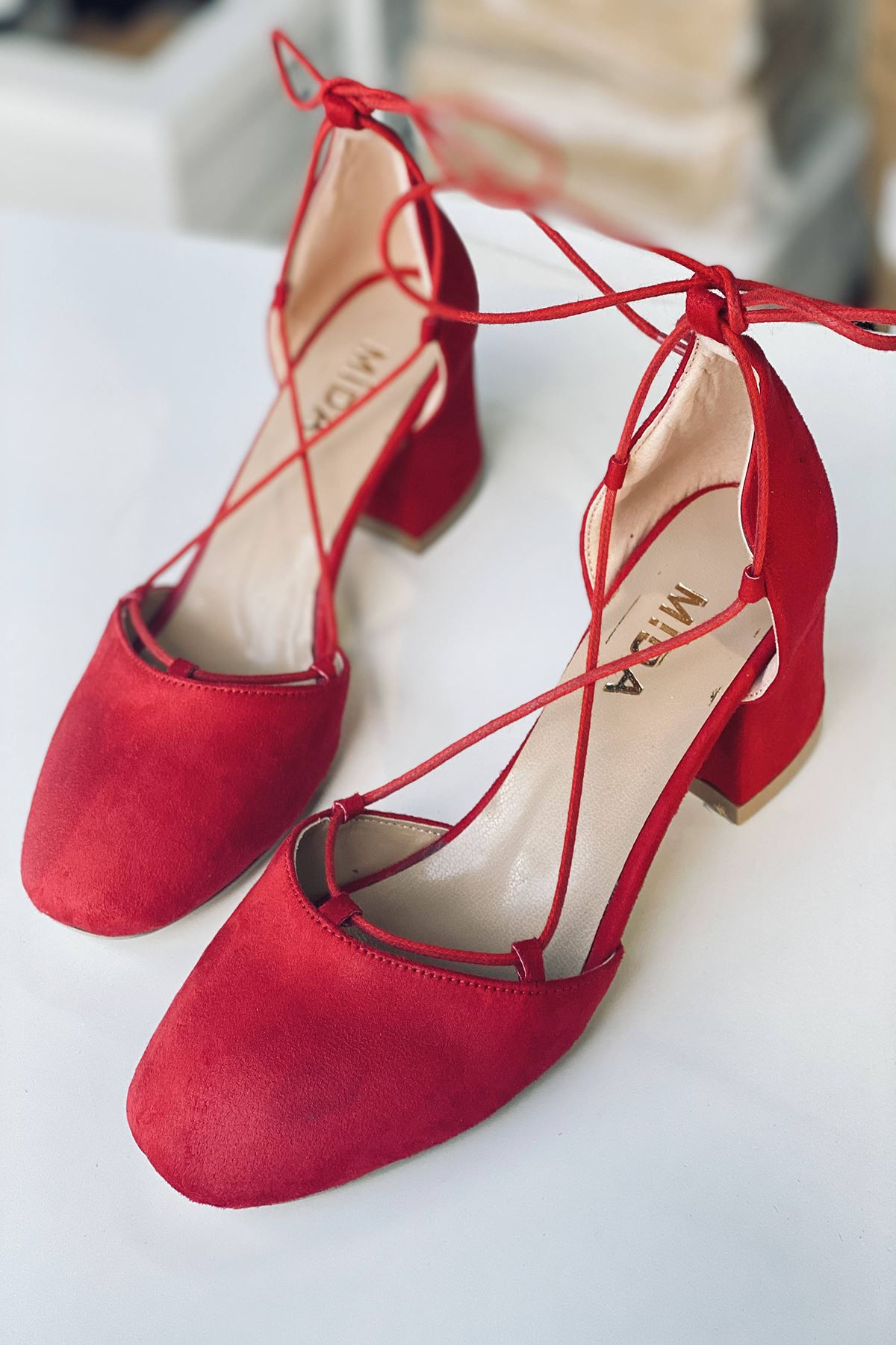 Y203 Kırmızı Süet Topuklu Ayakkabı