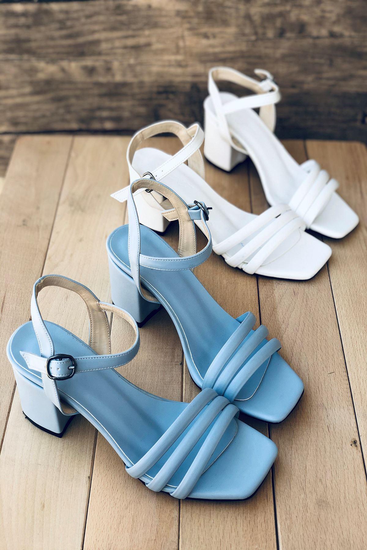 Y222 Bebe Mavi Deri Topuklu Ayakkabı