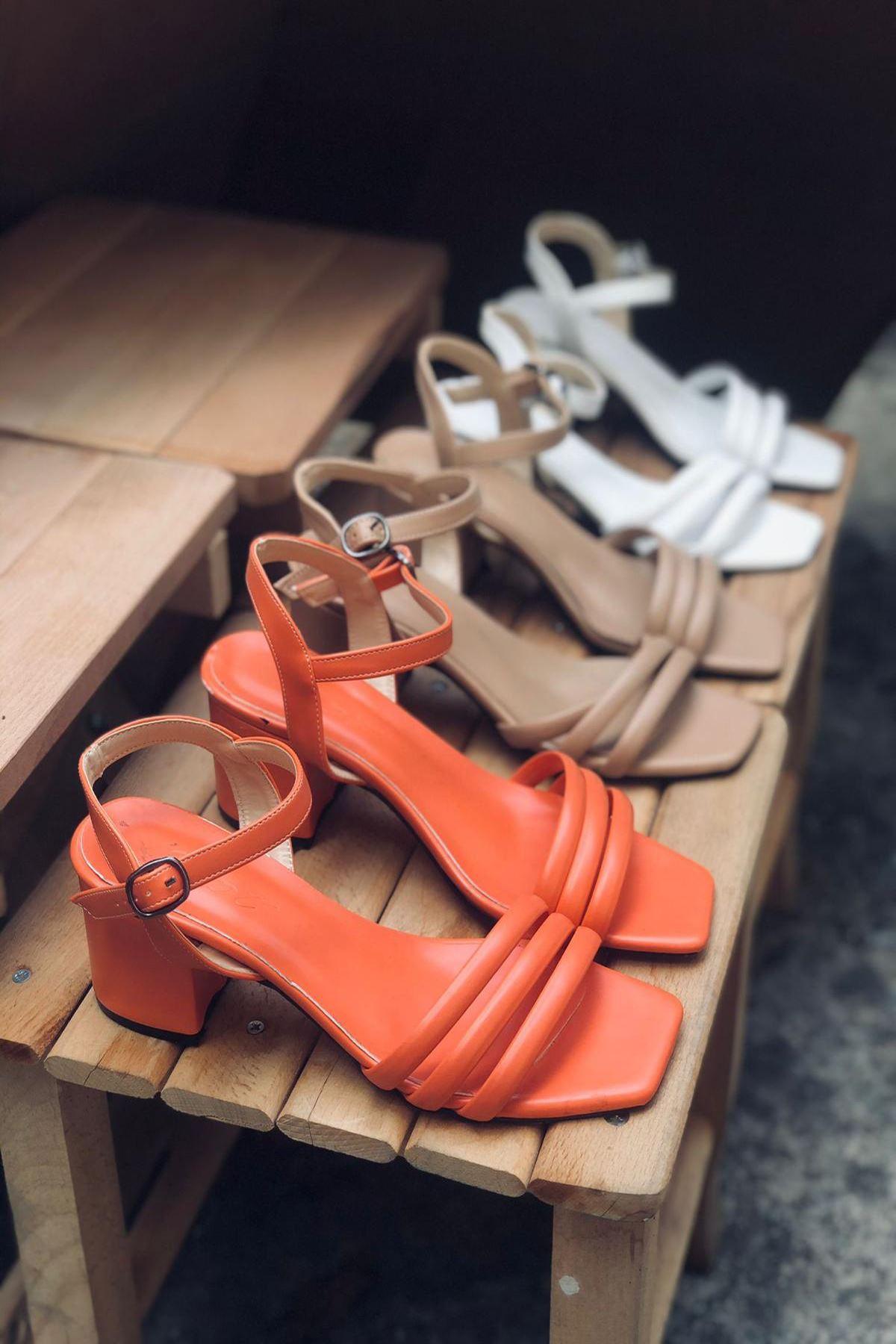 Y222 Somon Deri Topuklu Ayakkabı