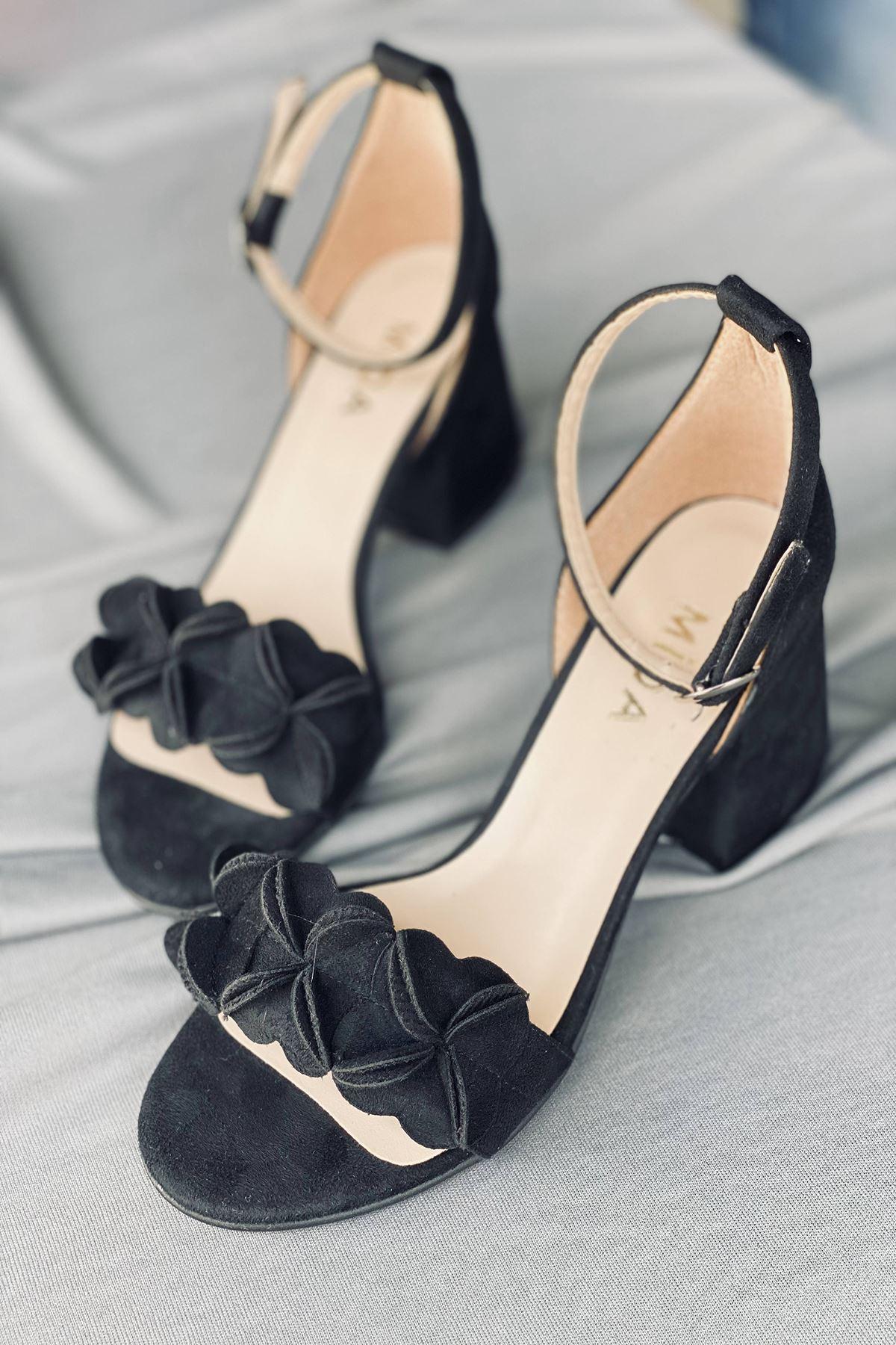 Y500 Siyah Süet Topuklu Ayakkabı