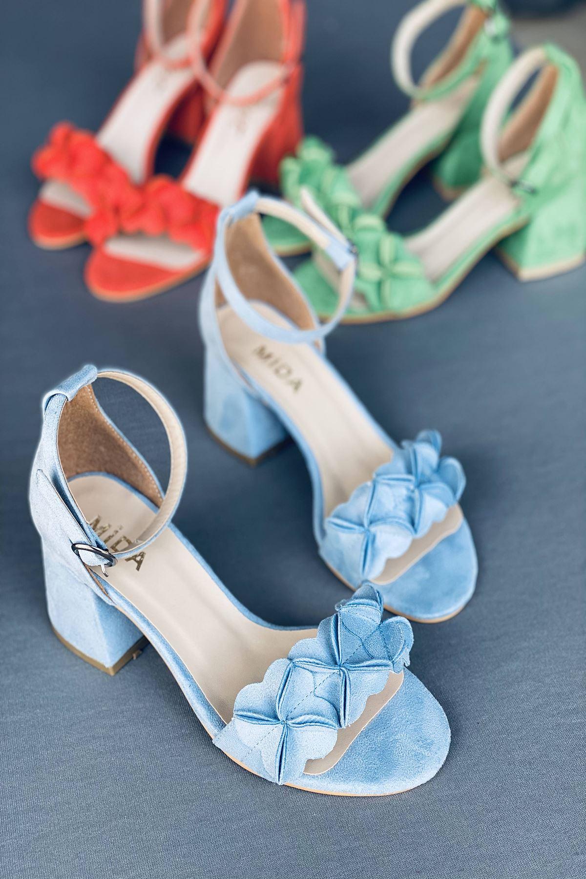 Y500 Bebe Mavi Süet Topuklu Ayakkabı