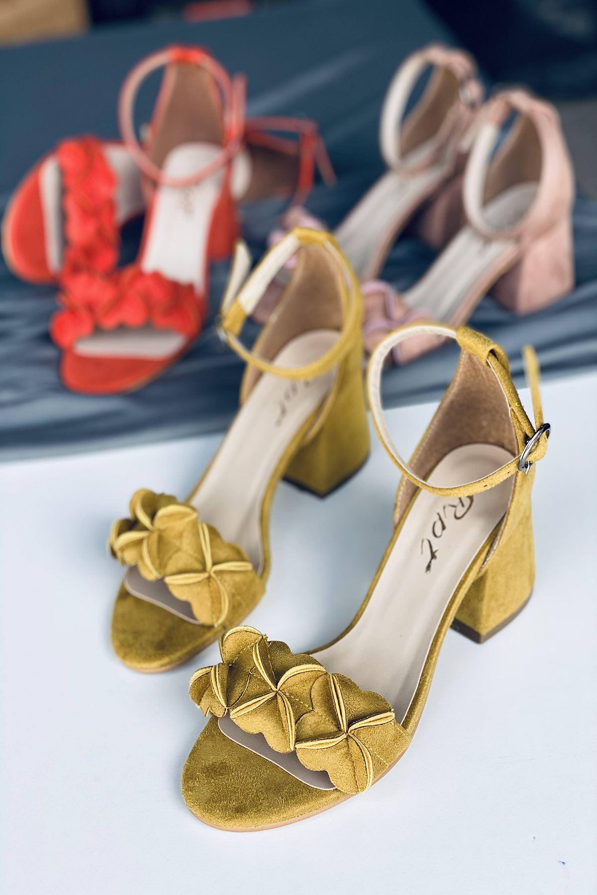 Y500 Hardal Süet Topuklu Ayakkabı