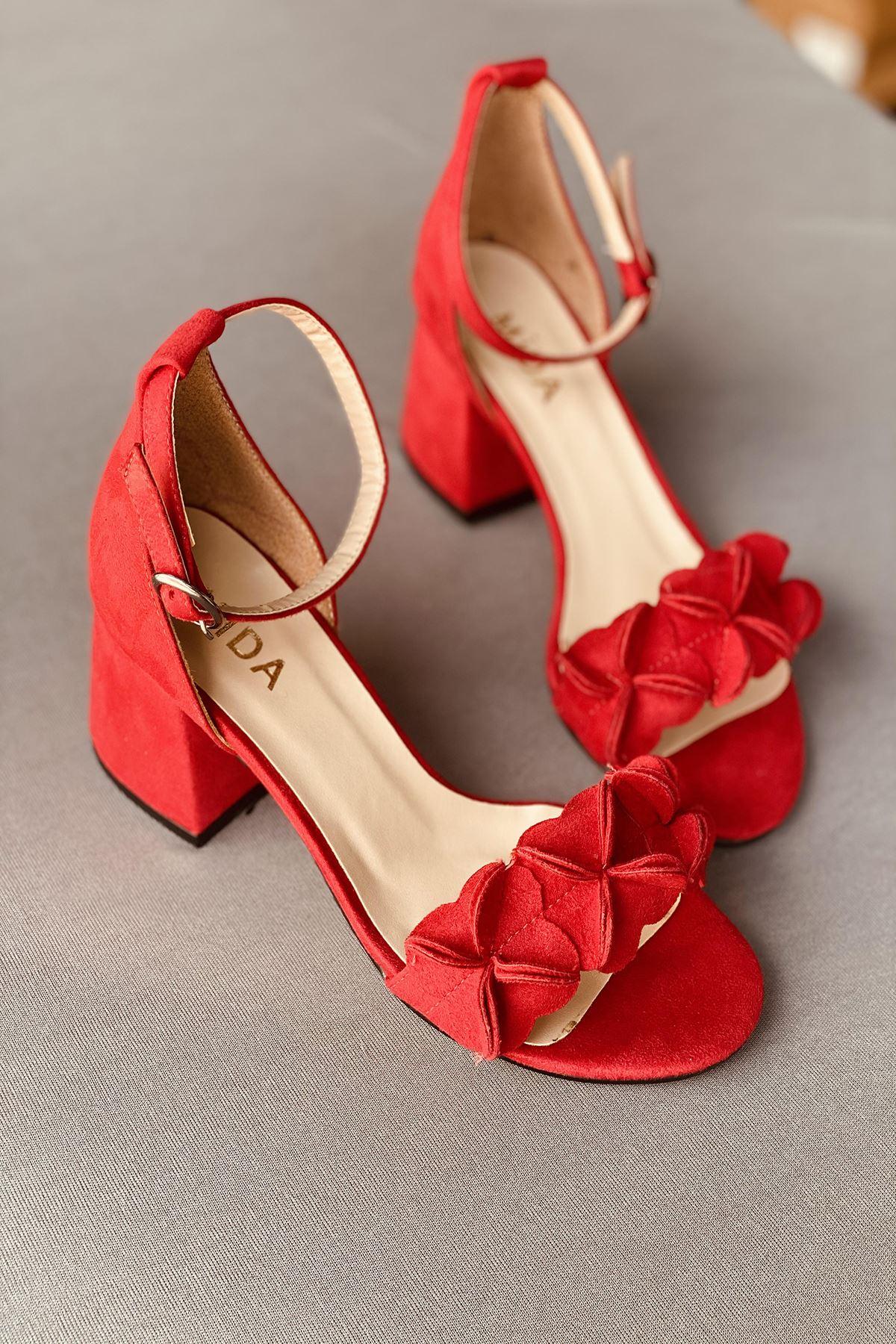 Y500 Kırmızı Süet Topuklu Ayakkabı