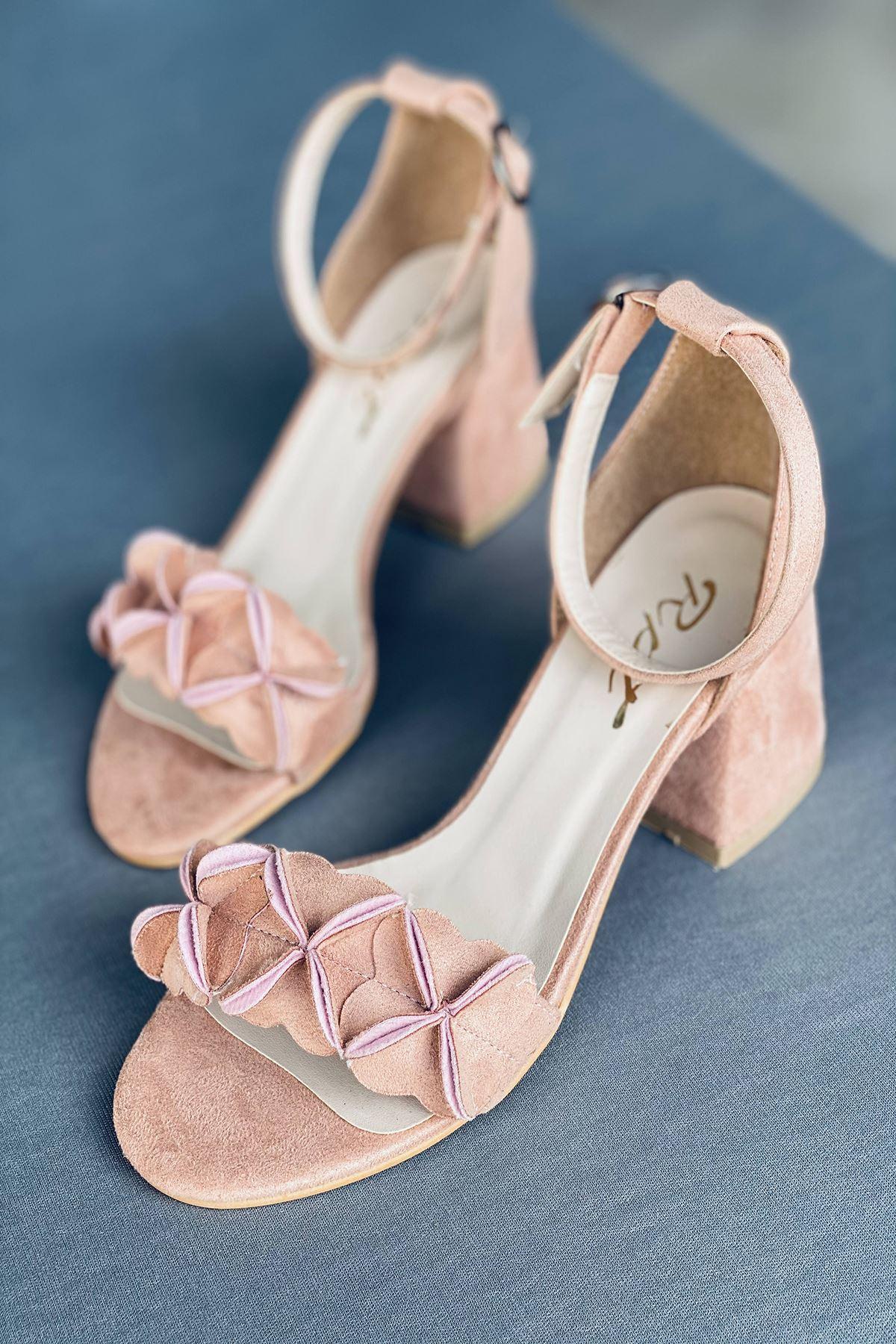 Y500 Pudra Süet Topuklu Ayakkabı