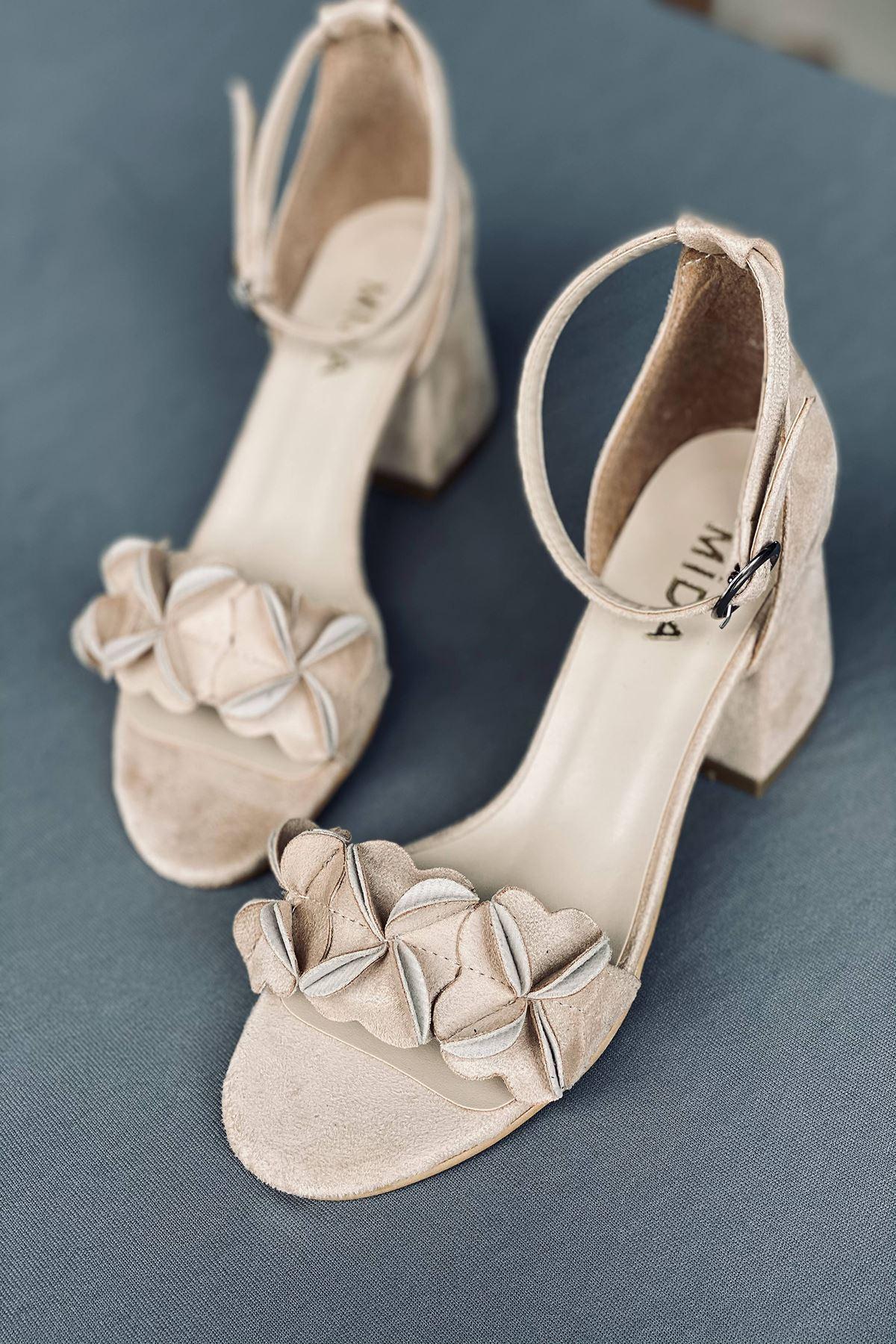 Y500 Ten Süet Topuklu Ayakkabı