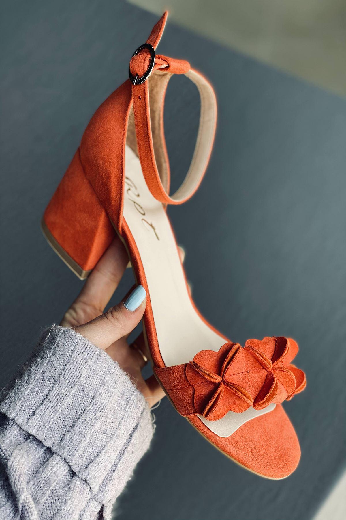 Y500 Turuncu Süet Topuklu Ayakkabı