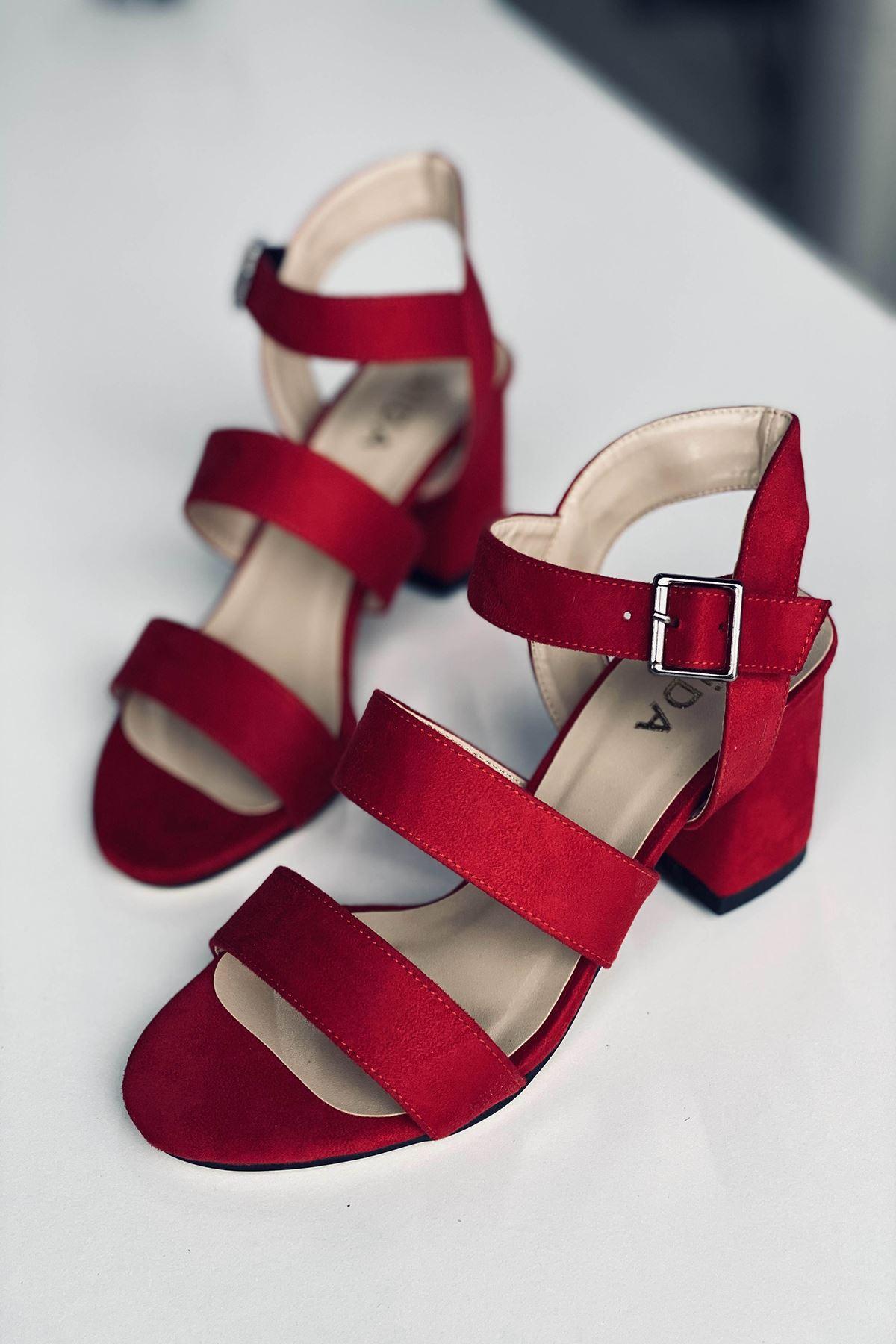 Y612 Kırmızı Süet Topuklu Ayakkabı