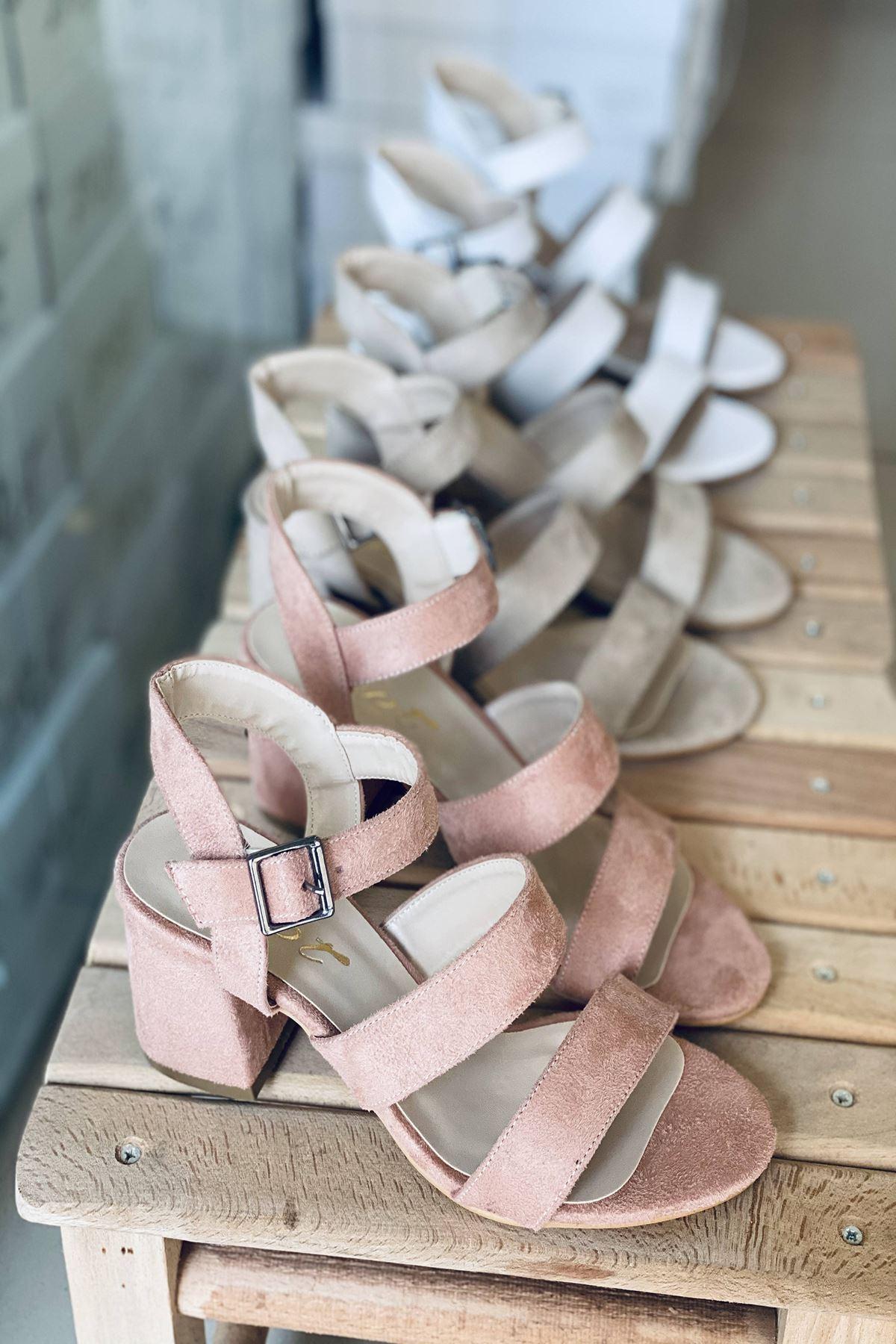 Y612 Pudra Süet Topuklu Ayakkabı