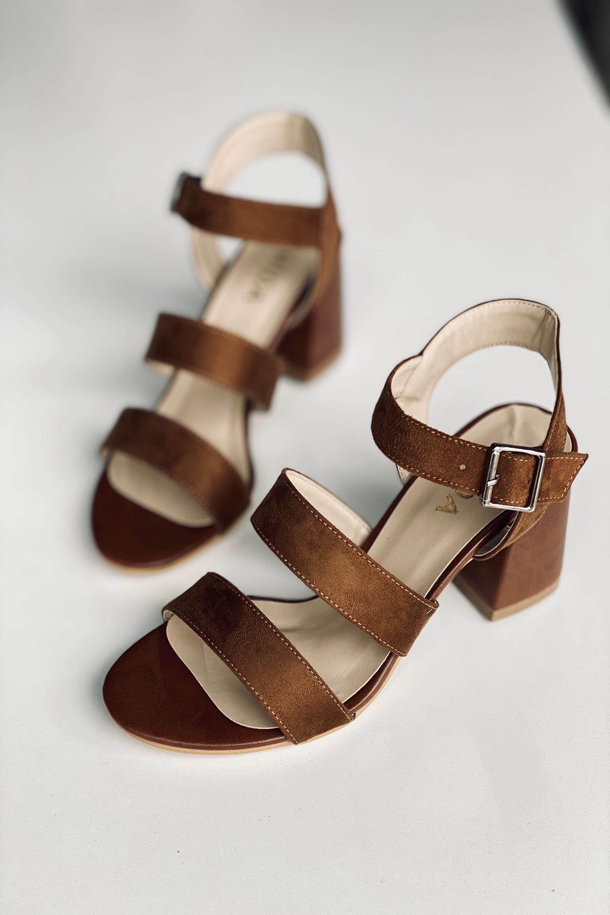Y612 Taba Süet Topuklu Ayakkabı