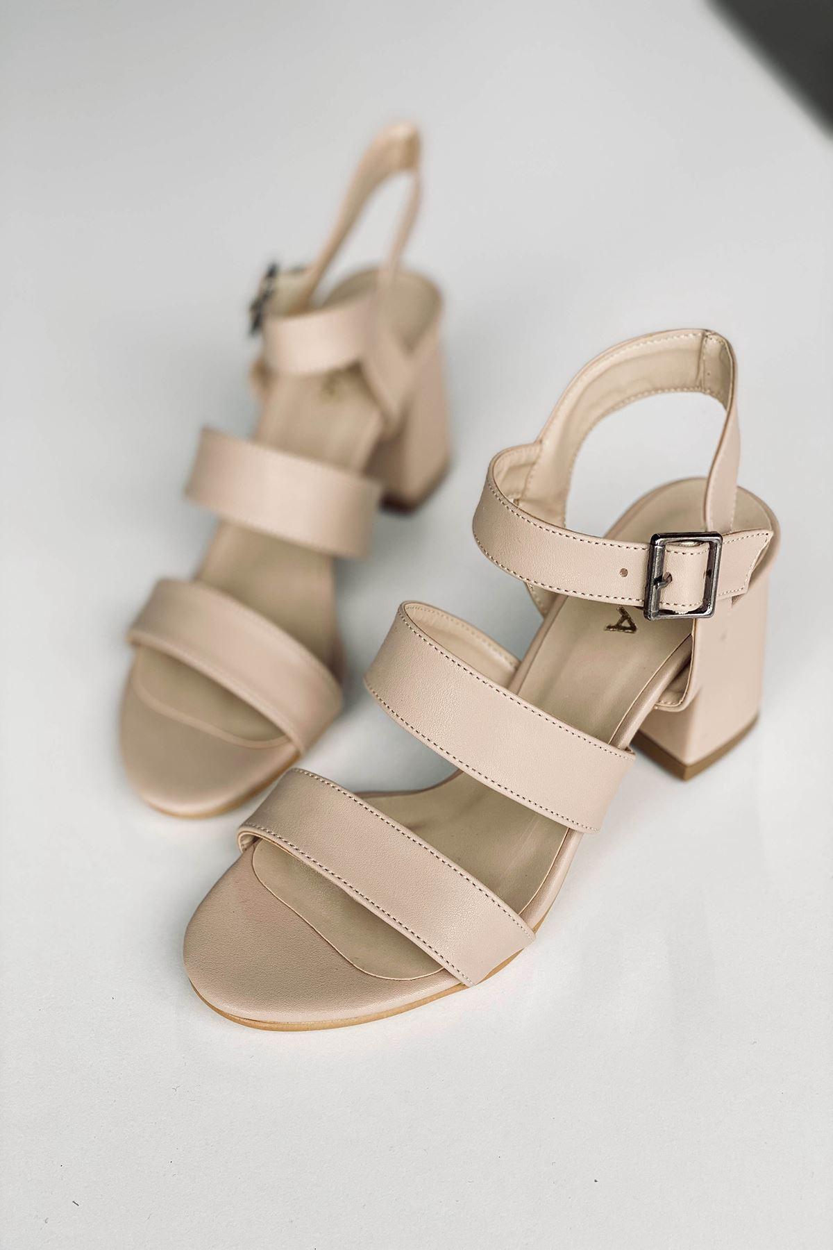 Y612 Ten Deri Topuklu Ayakkabı