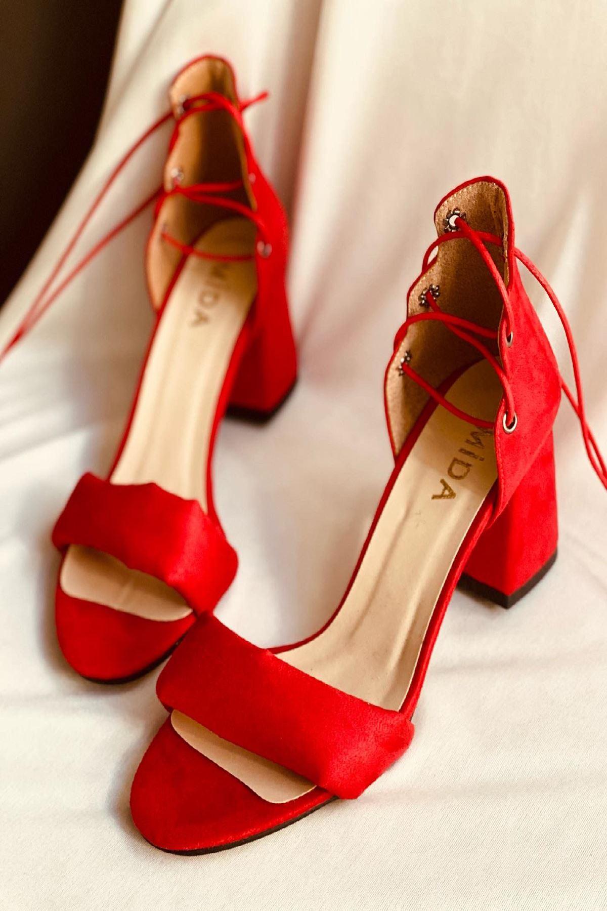 Y614 Kırmızı Süet Topuklu Ayakkabı