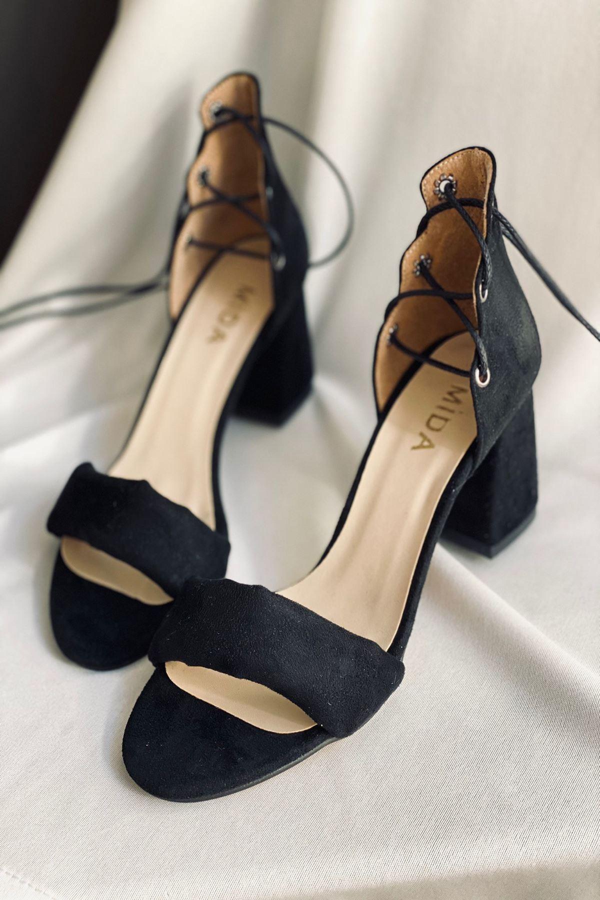 Y614 Siyah Süet Topuklu Ayakkabı