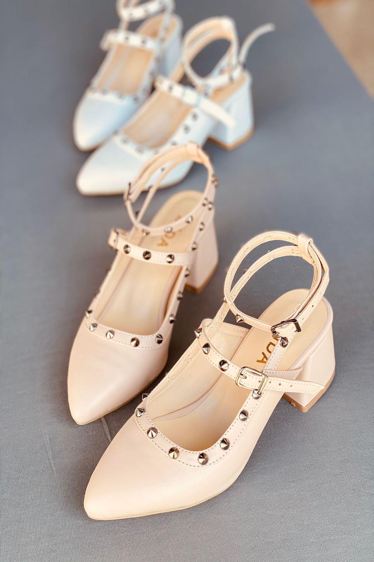 Y703 Ten Deri Topuklu Ayakkabı
