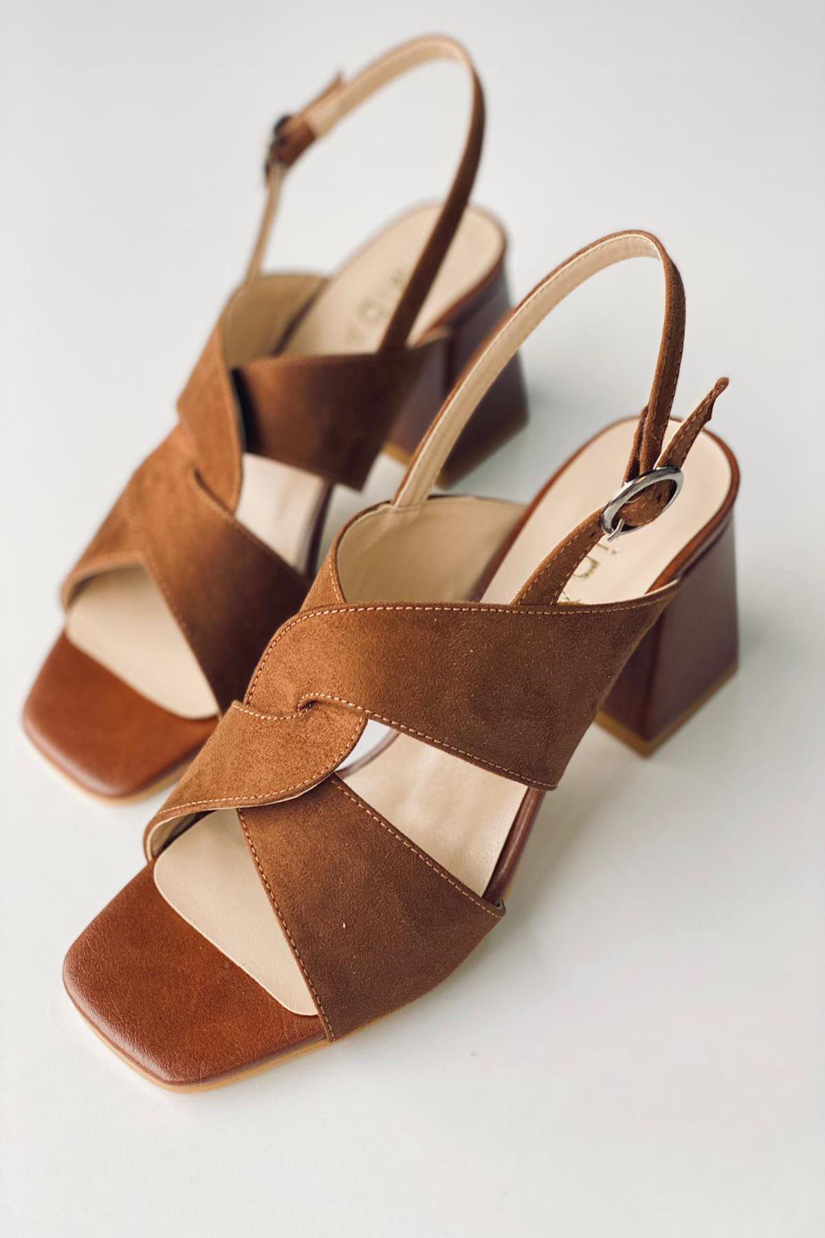 Y702 Taba Süet Topuklu Ayakkabı