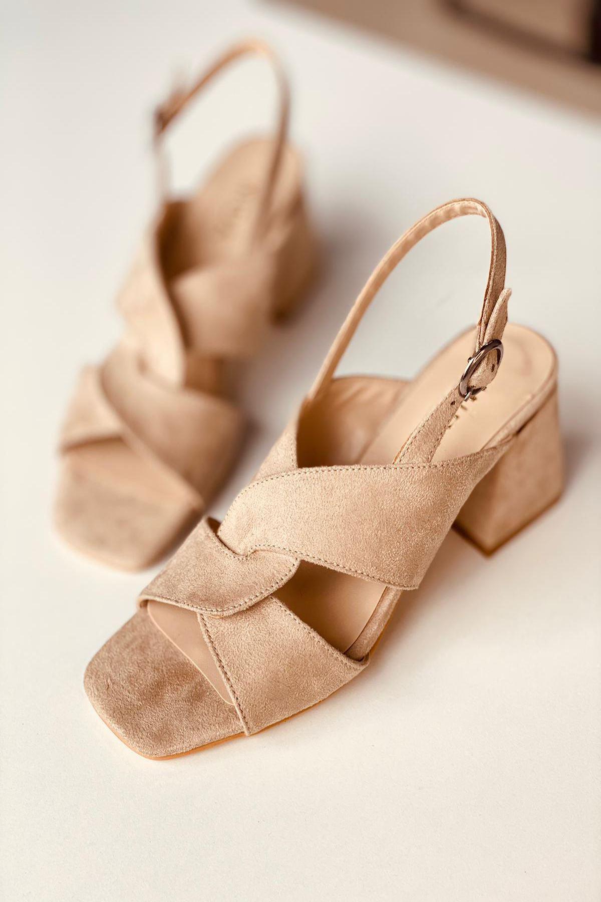 Y702 Ten Süet Topuklu Ayakkabı