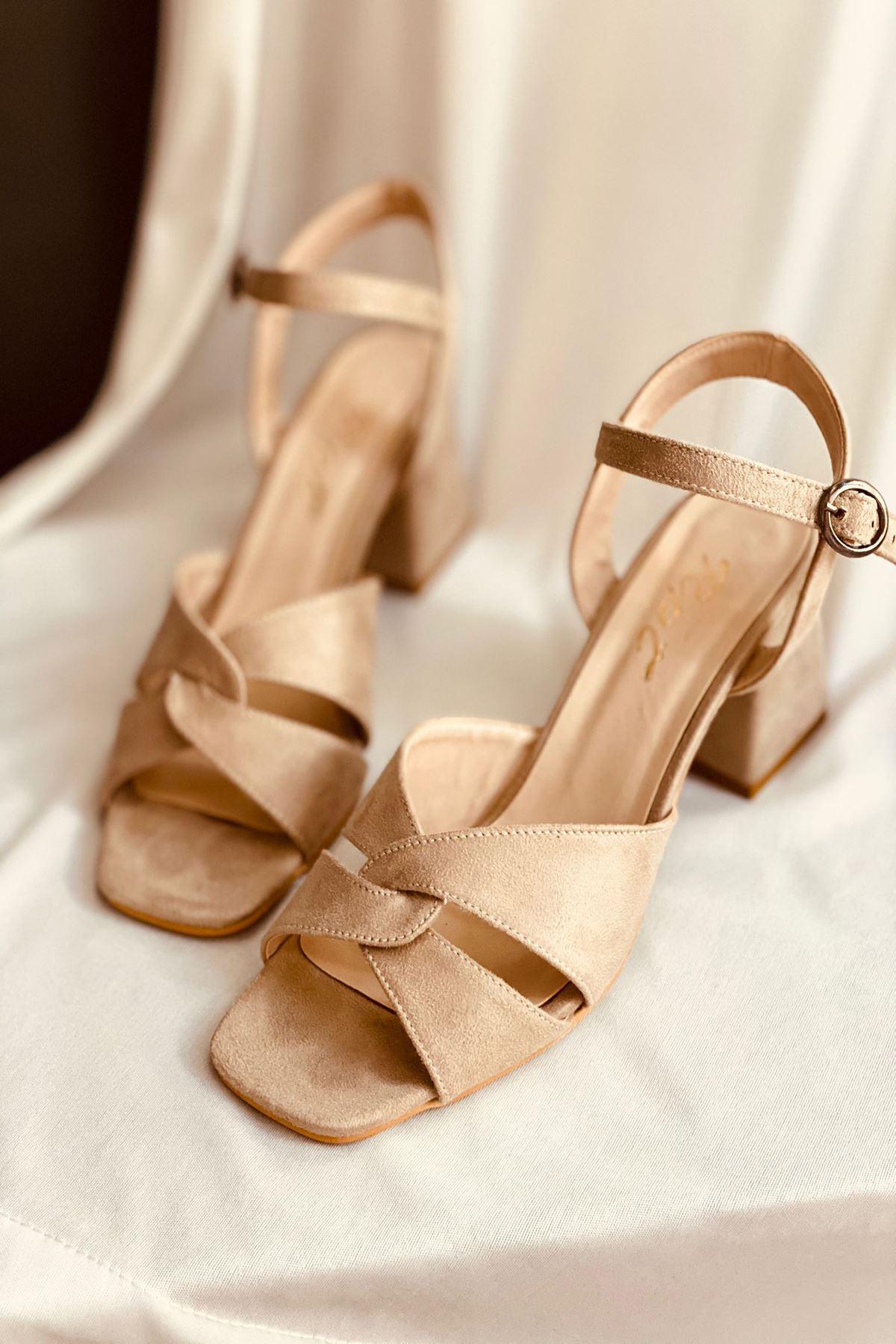 Y711 Ten Süet Topuklu Ayakkabı