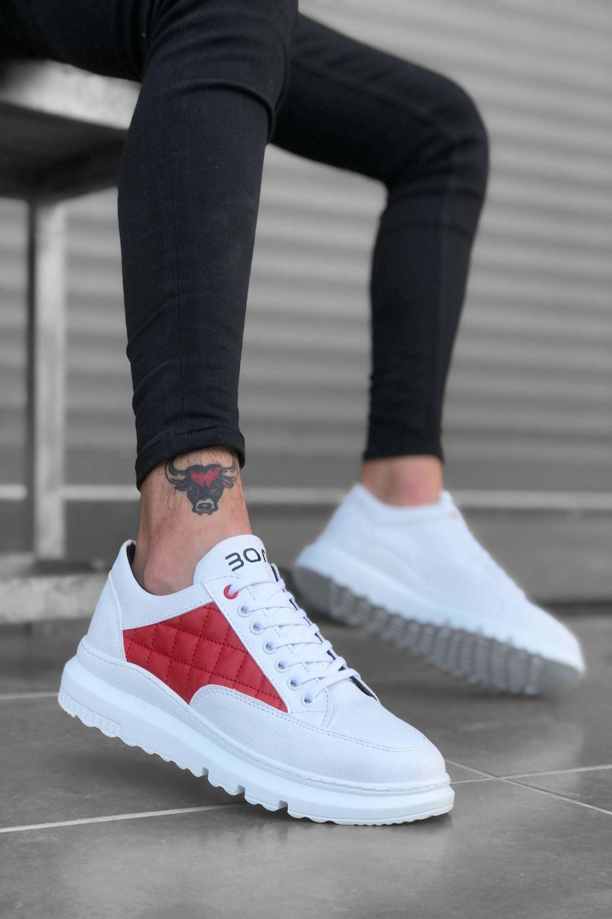 B180 Beyaz Kırmızı BT Bağcıklı Erkek Sneakers