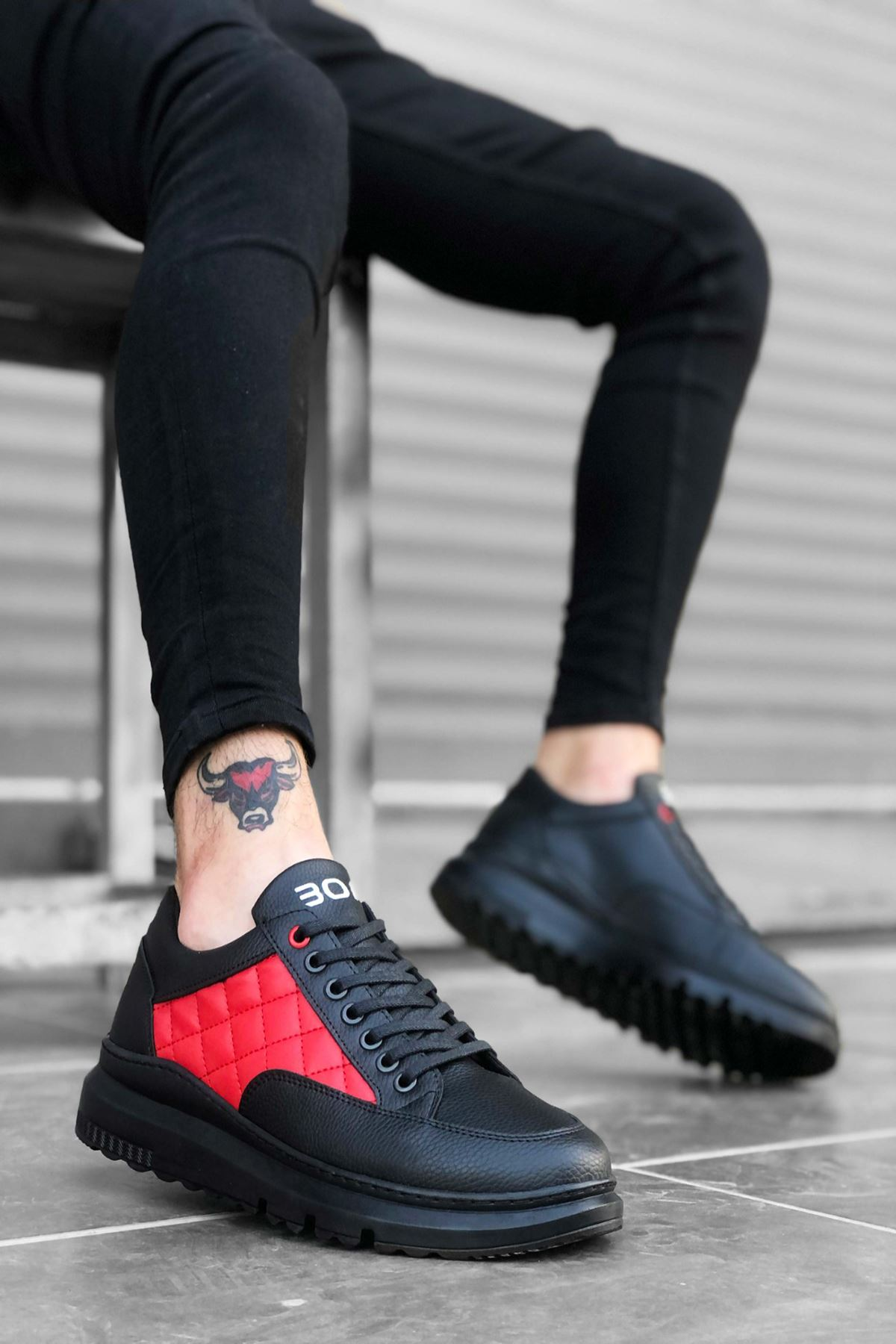 B180 Siyah Kırmızı ST Bağcıklı Erkek Sneakers